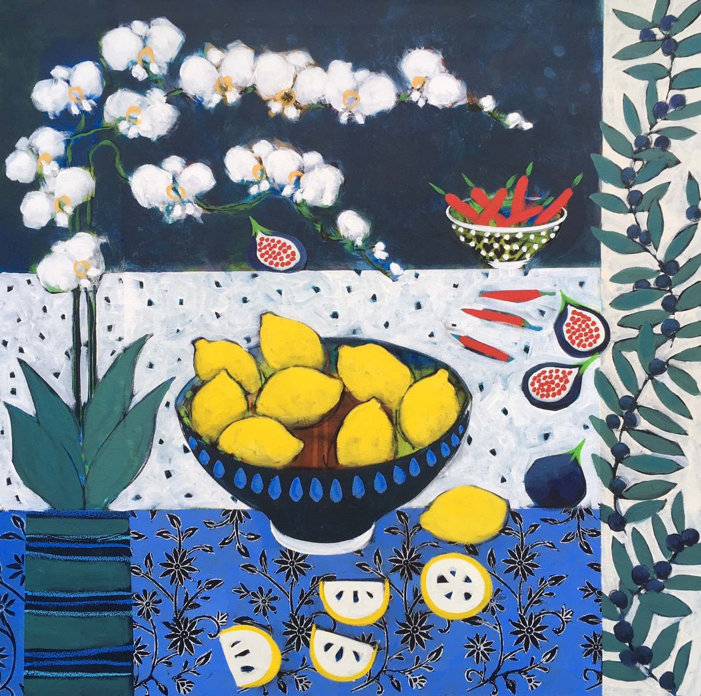 "<span class=""link fancybox-details-link""><a href=""/artists/59-relton-marine/works/2020-relton-marine-orchid-and-lemons/"">View Detail Page</a></span><div class=""artist""><strong>Relton Marine</strong></div> <div class=""title""><em>Orchid and Lemons</em></div> <div class=""medium"">Acrylic on Canvas</div> <div class=""dimensions"">91 x 91 cm</div><div class=""copyright_line"">Copyright The Artist</div>"