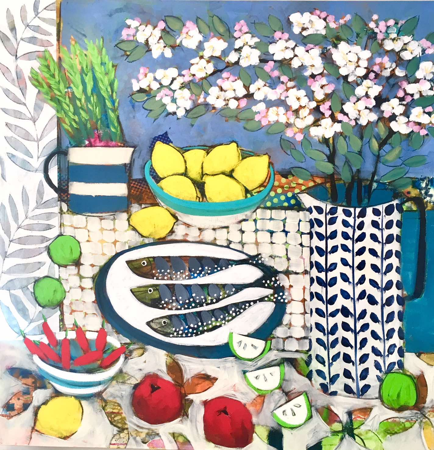 "<span class=""link fancybox-details-link""><a href=""/artists/59-relton-marine/works/2313-relton-marine-still-life-with-appleblossom-and-fish/"">View Detail Page</a></span><div class=""artist""><strong>Relton Marine</strong></div> <div class=""title""><em>Still Life with Appleblossom and Fish</em></div> <div class=""medium"">Acrylic on Canvas</div> <div class=""dimensions"">91 x 91 cm </div><div class=""copyright_line"">Copyright The Artist</div>"