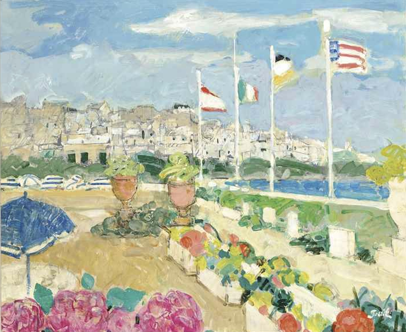 """<span class=""""link fancybox-details-link""""><a href=""""/artists/46-gilles-gorriti/works/271-gilles-gorriti-biarritz-signed-gorriti-signed-again-and-inscribed-biarritz-15f-gorriti/"""">View Detail Page</a></span><div class=""""artist""""><strong>Gilles Gorriti</strong></div> 1939 <div class=""""title""""><em>Biarritz signed Gorriti signed again and inscribed """"BiARRITZ/15F/Gorriti</em></div> <div class=""""medium"""">Oil on Canvas</div> <div class=""""dimensions"""">70 x 82 cm framed</div><div class=""""price"""">£2,200.00</div>"""