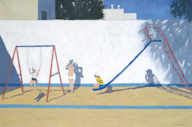 "<span class=""link fancybox-details-link""><a href=""/artists/41-andrew-macara/works/162-andrew-macara-playground-quartejar-near-albufeira-portugal/"">View Detail Page</a></span><div class=""artist""><strong>Andrew Macara</strong></div> <div class=""title""><em>Playground, Quartejar, near Albufeira, Portugal</em></div> <div class=""medium"">Oil on canvas (framed)</div> <div class=""dimensions"">60 x 92 cm</div><div class=""price"">£2,500.00</div>"