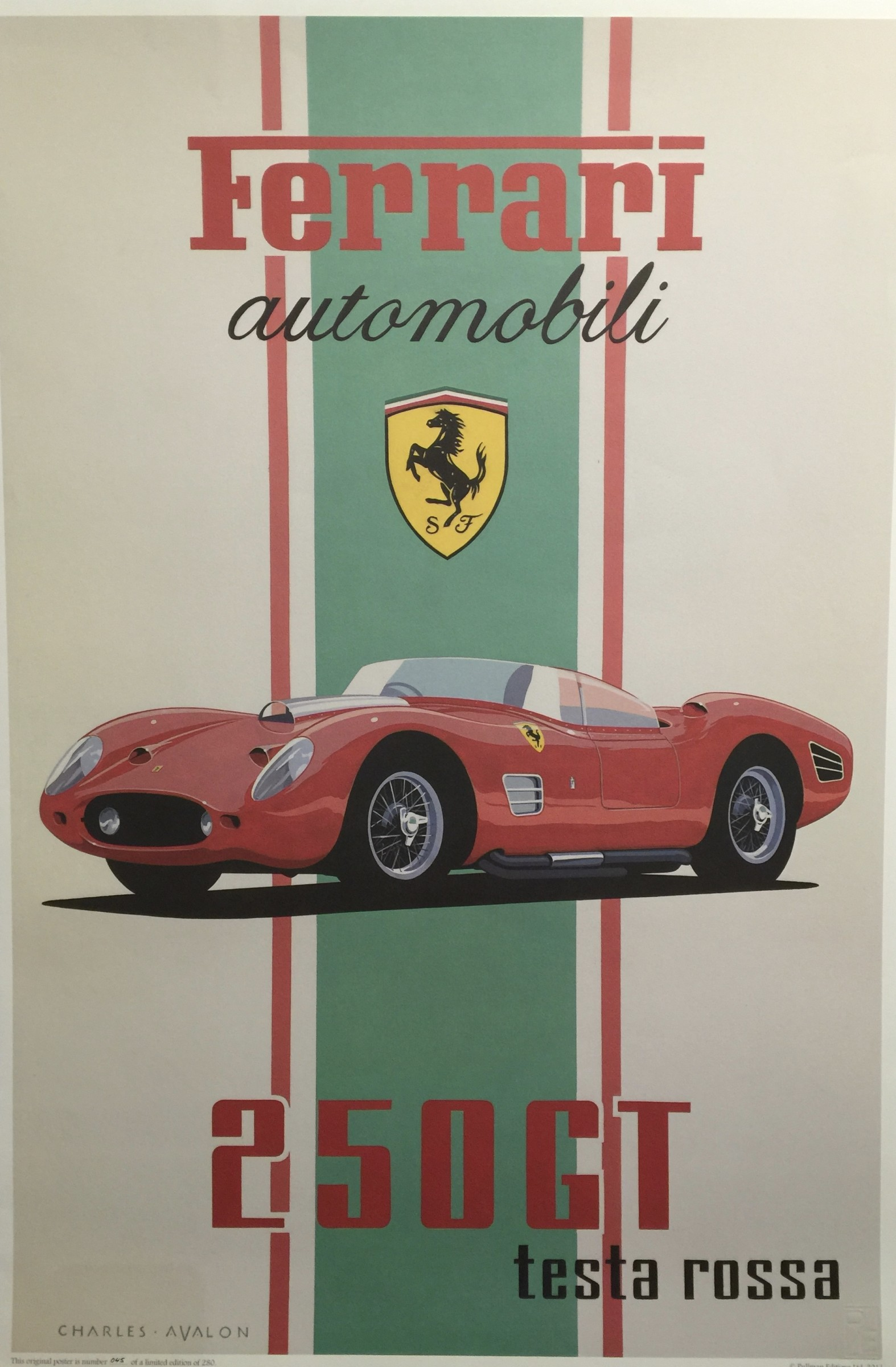 """<span class=""""link fancybox-details-link""""><a href=""""/artists/55-charles-avalon/works/502-charles-avalon-1960-ferrari-250gt-testa-rosa/"""">View Detail Page</a></span><div class=""""artist""""><strong>Charles Avalon</strong></div> <div class=""""title""""><em>1960 Ferrari 250GT Testa Rosa</em></div> <div class=""""medium"""">Limited Edition Print</div> <div class=""""dimensions"""">97 x 66 cm</div> <div class=""""edition_details"""">45/280</div>"""