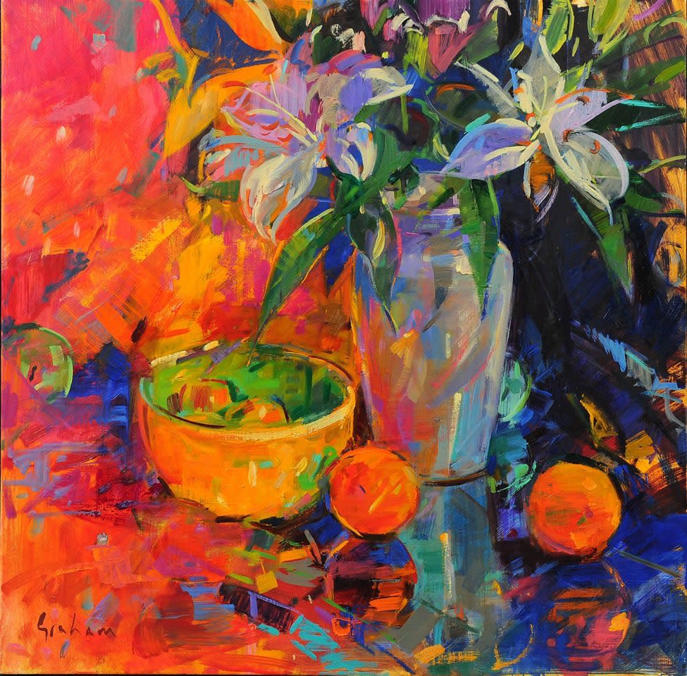"<span class=""link fancybox-details-link""><a href=""/artists/31-peter-graham-roi/works/2686-peter-graham-roi-still-life-lilies/"">View Detail Page</a></span><div class=""artist""><strong>Peter Graham ROI</strong></div> <div class=""title""><em>Still Life Lilies</em></div> <div class=""medium"">Oil on Canvas </div> <div class=""dimensions"">65 x 65 cm </div><div class=""price"">£5,950.00</div><div class=""copyright_line"">Copyright The Artist</div>"