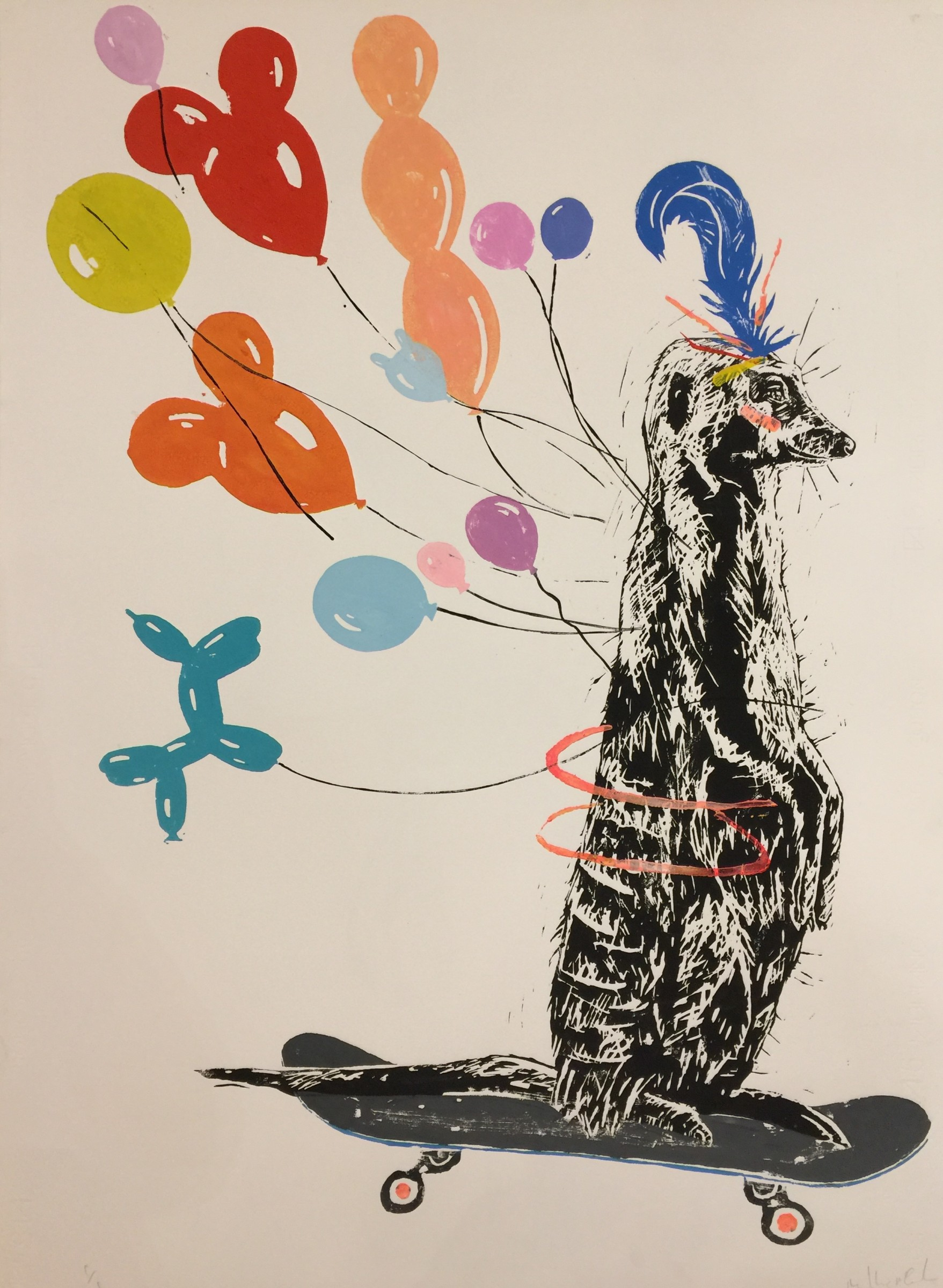 <span class=&#34;link fancybox-details-link&#34;><a href=&#34;/artists/39-millie-mccallum/works/1896-millie-mccallum-meerkat-with-feather-on-skateboard-2017/&#34;>View Detail Page</a></span><div class=&#34;artist&#34;><strong>Millie McCallum</strong></div> <div class=&#34;title&#34;><em>Meerkat with Feather on Skateboard</em>, 2017</div> <div class=&#34;medium&#34;>Linocut 1/1 (framed)</div> <div class=&#34;dimensions&#34;>98 x 70 cm (paper size)</div><div class=&#34;copyright_line&#34;>Copyright The Artist</div>