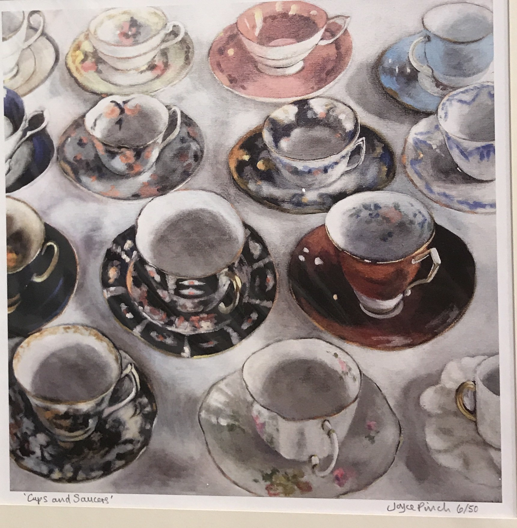 """<span class=""""link fancybox-details-link""""><a href=""""/artists/34-joyce-pinch/works/398-joyce-pinch-cups-and-saucers/"""">View Detail Page</a></span><div class=""""artist""""><strong>Joyce Pinch</strong></div> <div class=""""title""""><em>Cups and saucers</em></div> <div class=""""medium"""">Limited Edition Print (framed)</div> <div class=""""dimensions"""">26 x 26 cm</div> <div class=""""edition_details"""">Edition of 50</div><div class=""""price"""">£120.00</div>"""
