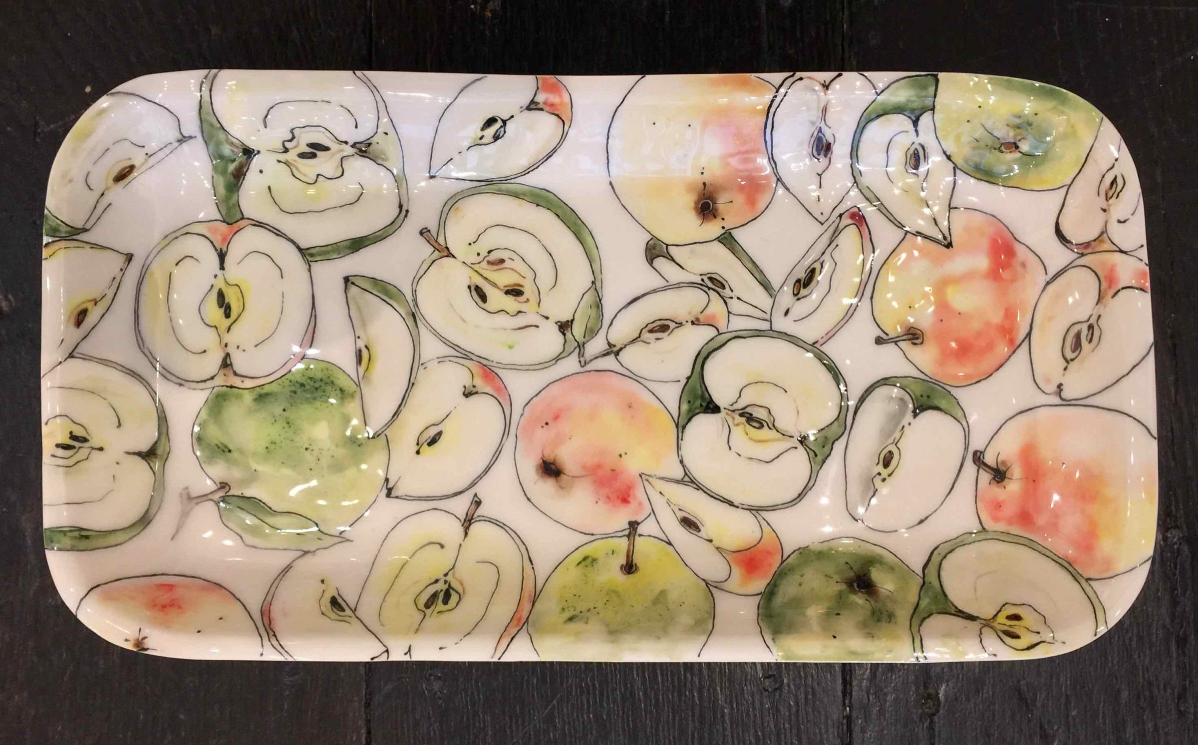 <span class=&#34;link fancybox-details-link&#34;><a href=&#34;/artists/33-kerry-edwards/works/2529-kerry-edwards-apple-platter-rectangular/&#34;>View Detail Page</a></span><div class=&#34;artist&#34;><strong>Kerry Edwards</strong></div> <div class=&#34;title&#34;><em>Apple Platter Rectangular</em></div> <div class=&#34;medium&#34;>Ceramic</div> <div class=&#34;dimensions&#34;>42 x 22 cm</div><div class=&#34;price&#34;>£175.00</div><div class=&#34;copyright_line&#34;>Copyright The Artist</div>