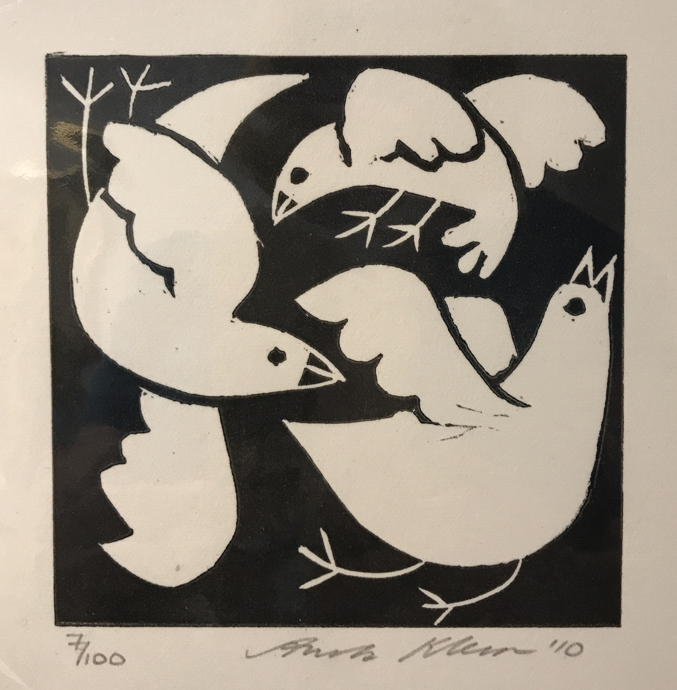 <span class=&#34;link fancybox-details-link&#34;><a href=&#34;/artists/32-anita-klein/works/65-anita-klein-swooping-birds/&#34;>View Detail Page</a></span><div class=&#34;artist&#34;><strong>Anita Klein</strong></div> <div class=&#34;title&#34;><em>Swooping Birds</em></div> <div class=&#34;medium&#34;>Linocut</div> <div class=&#34;dimensions&#34;>22 x 21 cm framed</div> <div class=&#34;edition_details&#34;>7/100</div>