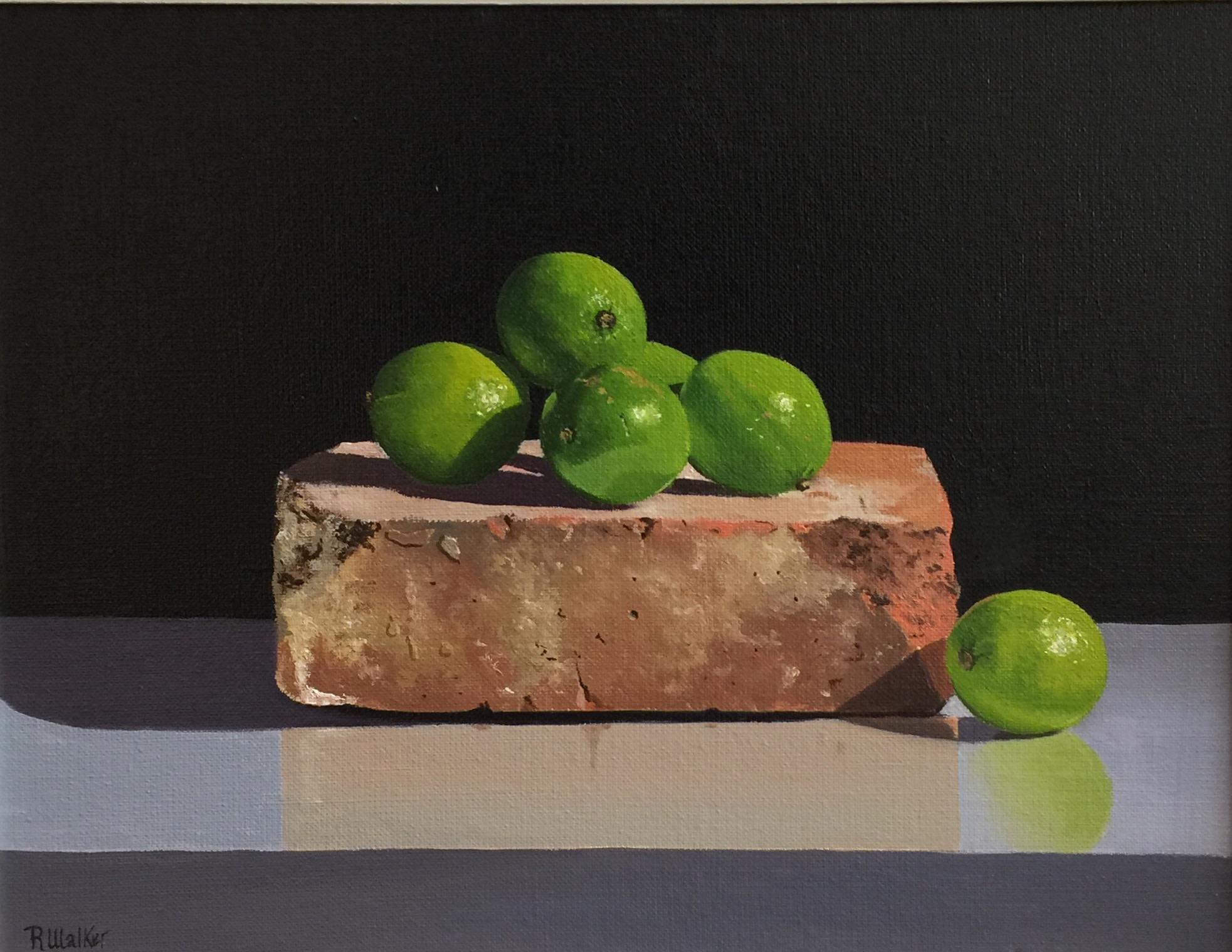<span class=&#34;link fancybox-details-link&#34;><a href=&#34;/artists/67-robert-walker/works/2776-robert-walker-limes-and-brick/&#34;>View Detail Page</a></span><div class=&#34;artist&#34;><strong>Robert Walker</strong></div> <div class=&#34;title&#34;><em>Limes and Brick</em></div> <div class=&#34;medium&#34;>Oil on Canvas</div> <div class=&#34;dimensions&#34;>29 x 36 cm</div><div class=&#34;copyright_line&#34;>Copyright The Artist</div>