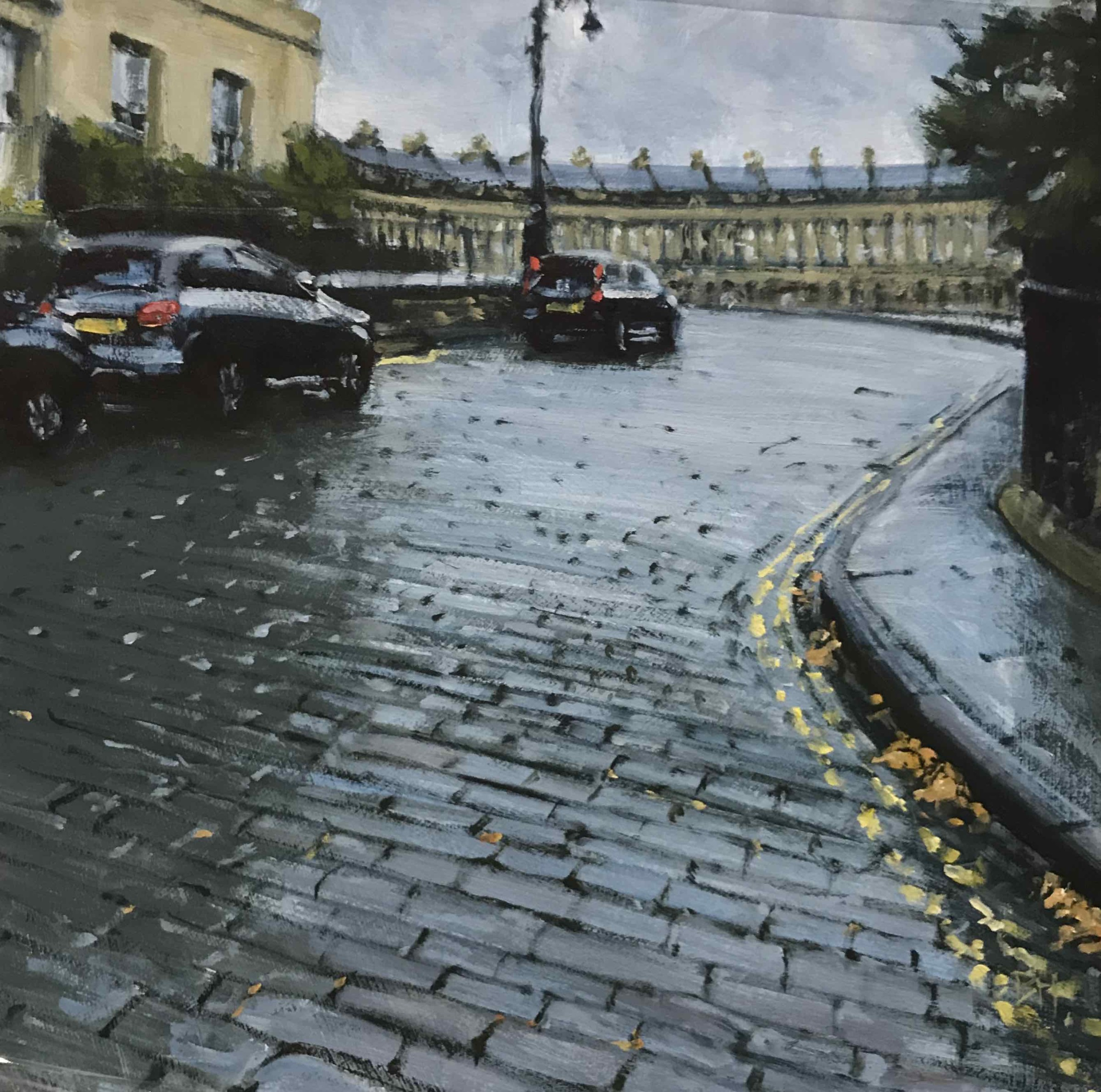 """<span class=""""link fancybox-details-link""""><a href=""""/artists/181-ben-hughes/works/2976-ben-hughes-royal-crescent-study-ii/"""">View Detail Page</a></span><div class=""""artist""""><strong>Ben Hughes</strong></div> <div class=""""title""""><em>Royal Crescent Study II</em></div> <div class=""""medium"""">Oil on Board</div> <div class=""""dimensions"""">20 x 20cm </div><div class=""""copyright_line"""">Copyright The Artist</div>"""