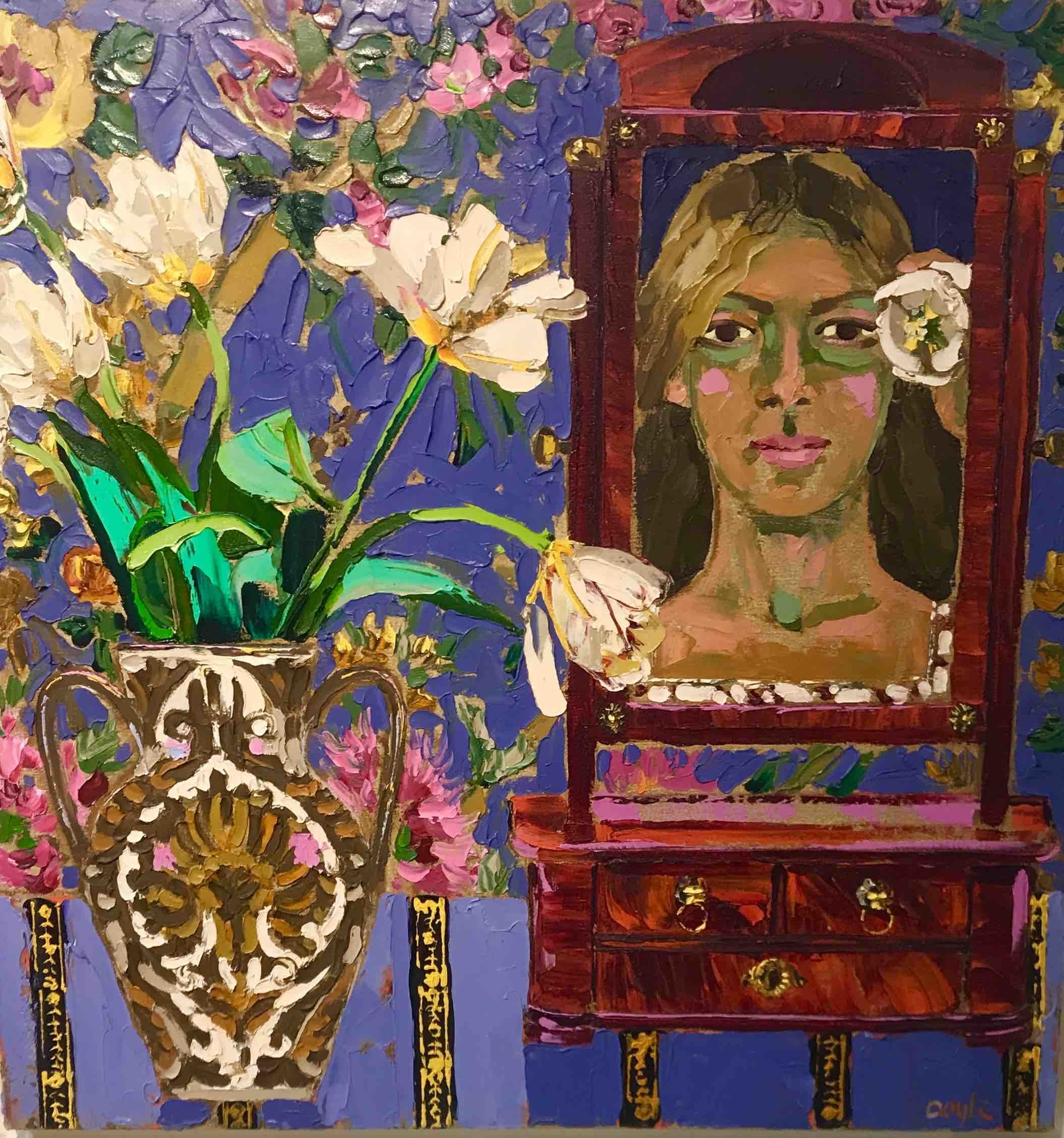 "<span class=""link fancybox-details-link""><a href=""/artists/202-lucy-doyle/works/2958-lucy-doyle-dressing-table-mirror/"">View Detail Page</a></span><div class=""artist""><strong>Lucy Doyle</strong></div> <div class=""title""><em>Dressing Table Mirror</em></div> <div class=""medium"">Oil on Canvas</div> <div class=""dimensions"">71 x 71 cm </div><div class=""copyright_line"">Copyright The Artist</div>"