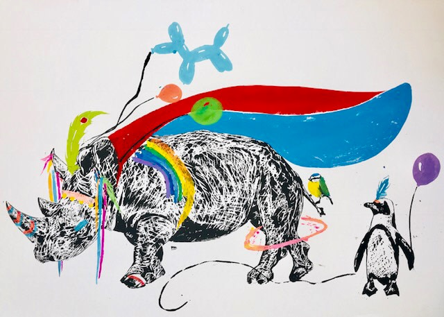 <span class=&#34;link fancybox-details-link&#34;><a href=&#34;/artists/39-millie-mccallum/works/2328-millie-mccallum-rhino-wearing-a-cape-with-penguin/&#34;>View Detail Page</a></span><div class=&#34;artist&#34;><strong>Millie McCallum</strong></div> <div class=&#34;title&#34;><em>Rhino wearing  a Cape with Penguin</em></div> <div class=&#34;medium&#34;>Linocut 1/1 (framed)</div> <div class=&#34;dimensions&#34;>70 X 100 cm </div><div class=&#34;copyright_line&#34;>Copyright The Artist</div>
