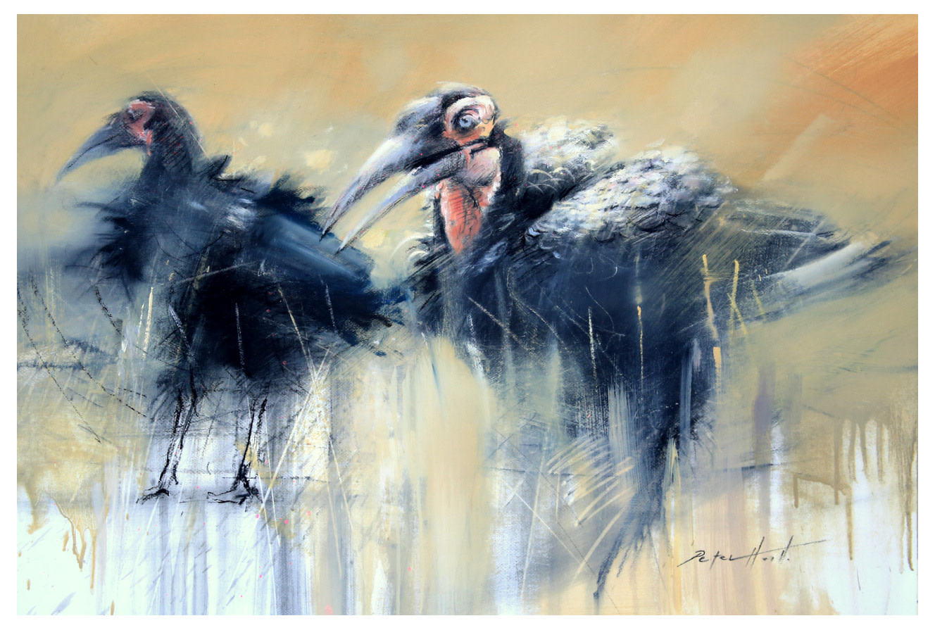 "<span class=""link fancybox-details-link""><a href=""/artists/60-peter-hall/works/7457-peter-hall-ground-hornbills-2019/"">View Detail Page</a></span><div class=""artist""><strong>Peter Hall</strong></div> <div class=""title""><em>Ground Hornbills</em>, 2019</div> <div class=""medium"">Mixed media on paper</div> <div class=""dimensions"">700x1000mm</div>"