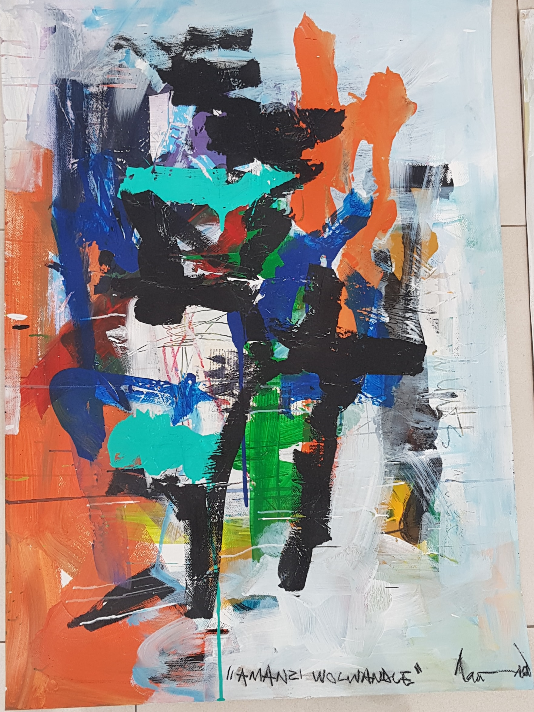 "<span class=""link fancybox-details-link""><a href=""/artists/83/series/other-works/6439-thando-ngwenya-amanzi-wolwandle-ocean-waters-2018/"">View Detail Page</a></span><div class=""artist""><strong>Thando Ngwenya</strong></div> <div class=""title""><em>Amanzi Wolwandle (Ocean Waters)</em>, 2018</div> <div class=""medium"">Mixed Media on Fabriano</div> <div class=""dimensions"">104.5cm x 74.5cm</div>"