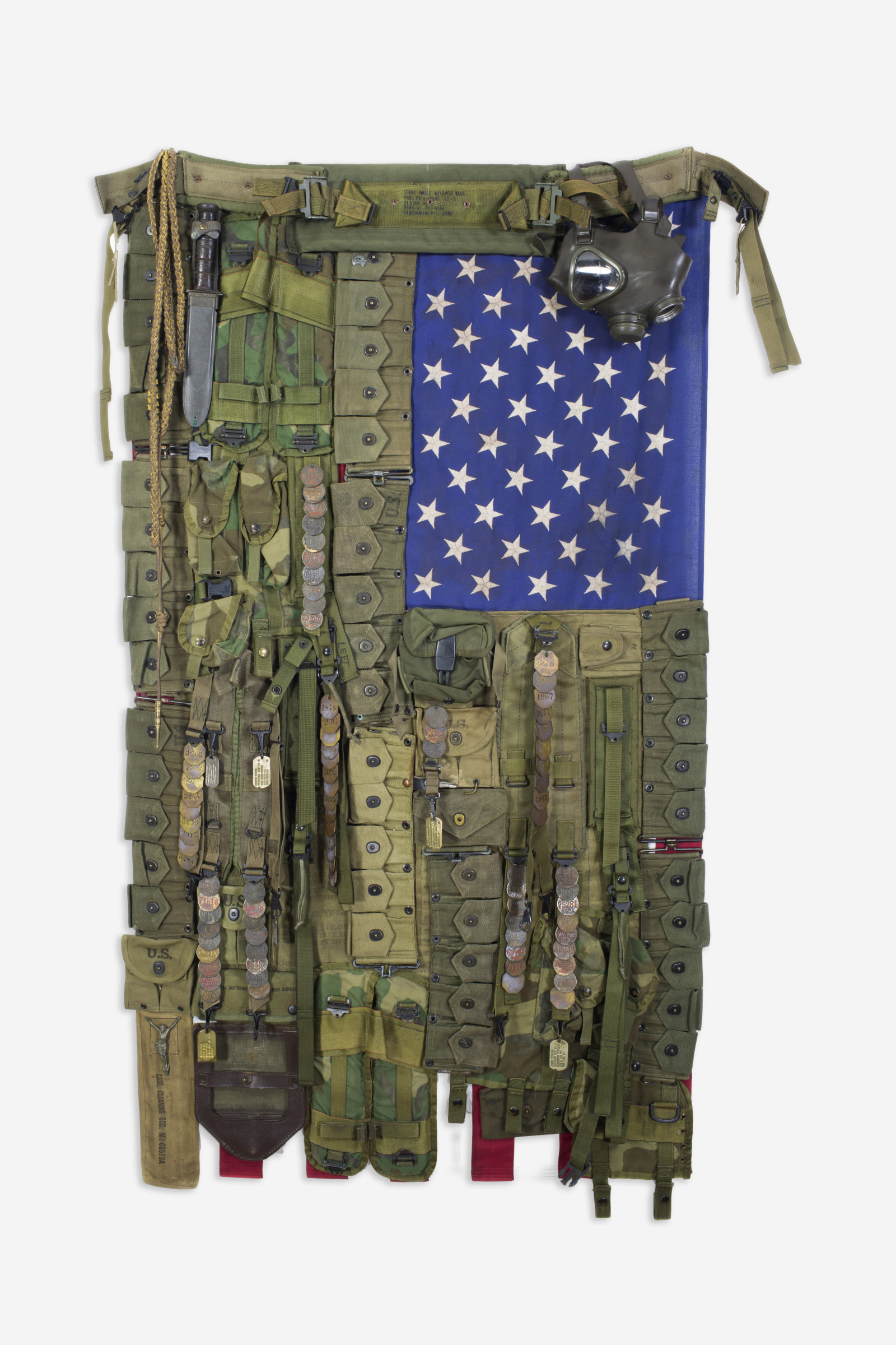 <span class=&#34;link fancybox-details-link&#34;><a href=&#34;/artists/33-sara-rahbar/works/966-sara-rahbar-flag-56-home-of-the-brave-2017/&#34;>View Detail Page</a></span><div class=&#34;artist&#34;><strong>Sara Rahbar</strong></div> <div class=&#34;title&#34;><em>Flag #56 Home of the Brave</em>, 2017</div> <div class=&#34;medium&#34;>Collected vintage objects on US vintage flag</div> <div class=&#34;dimensions&#34;>165.1 x 104.1 cm<br /> 65 x 41 in</div>