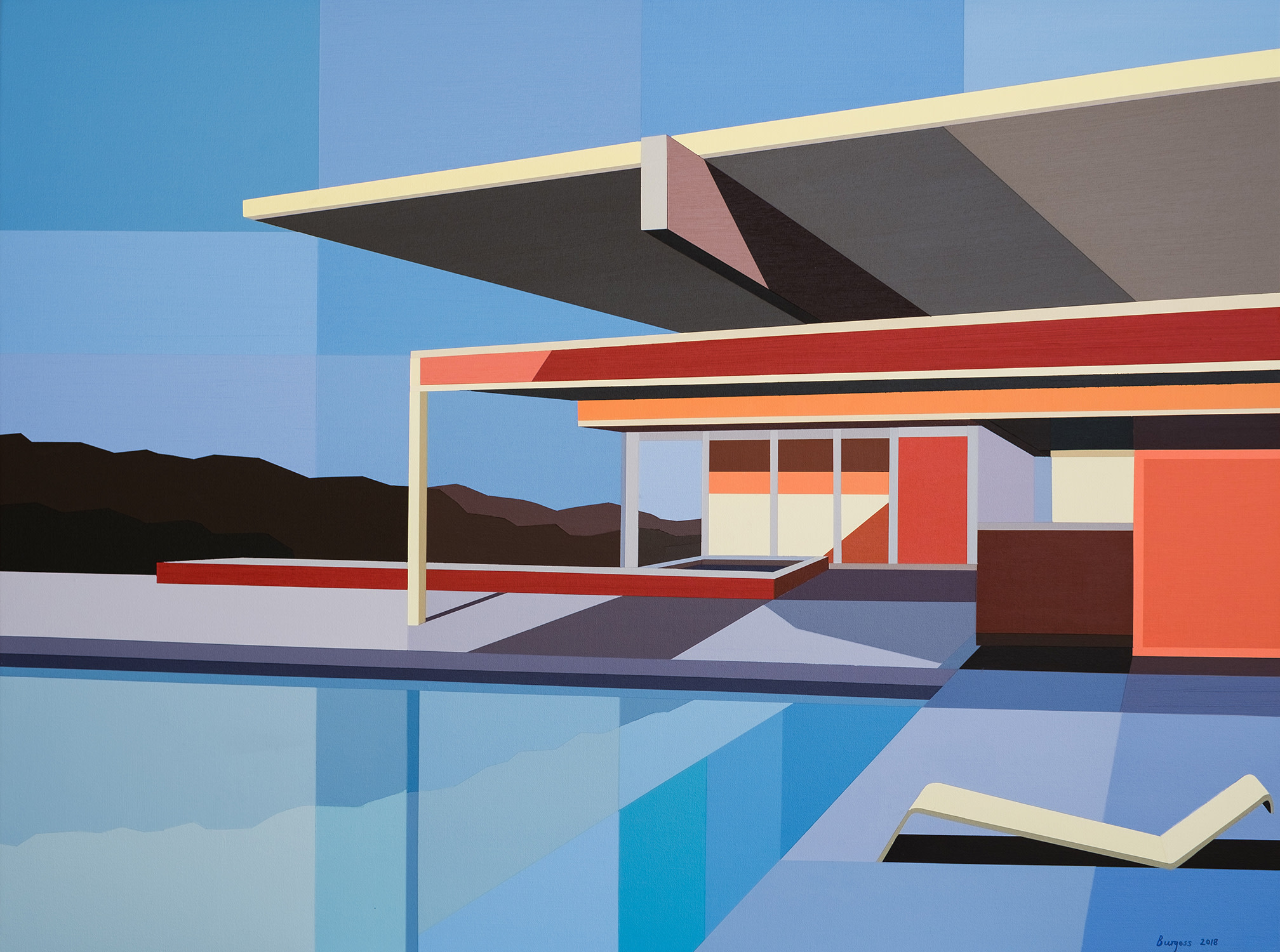 "<span class=""link fancybox-details-link""><a href=""/exhibitions/42/works/artworks3190/"">View Detail Page</a></span><div class=""artist""><strong>Andy Burgess</strong></div><div class=""title""><em>Re-Imagined Neutra III - Chuey House</em>, 2019</div><div class=""signed_and_dated"">Signed, dated recto</div><div class=""medium"">Acrylic on Canvas over Panel</div><div class=""dimensions"">76.2 x 101.6 cm<br>30 x 40 in.</div>"