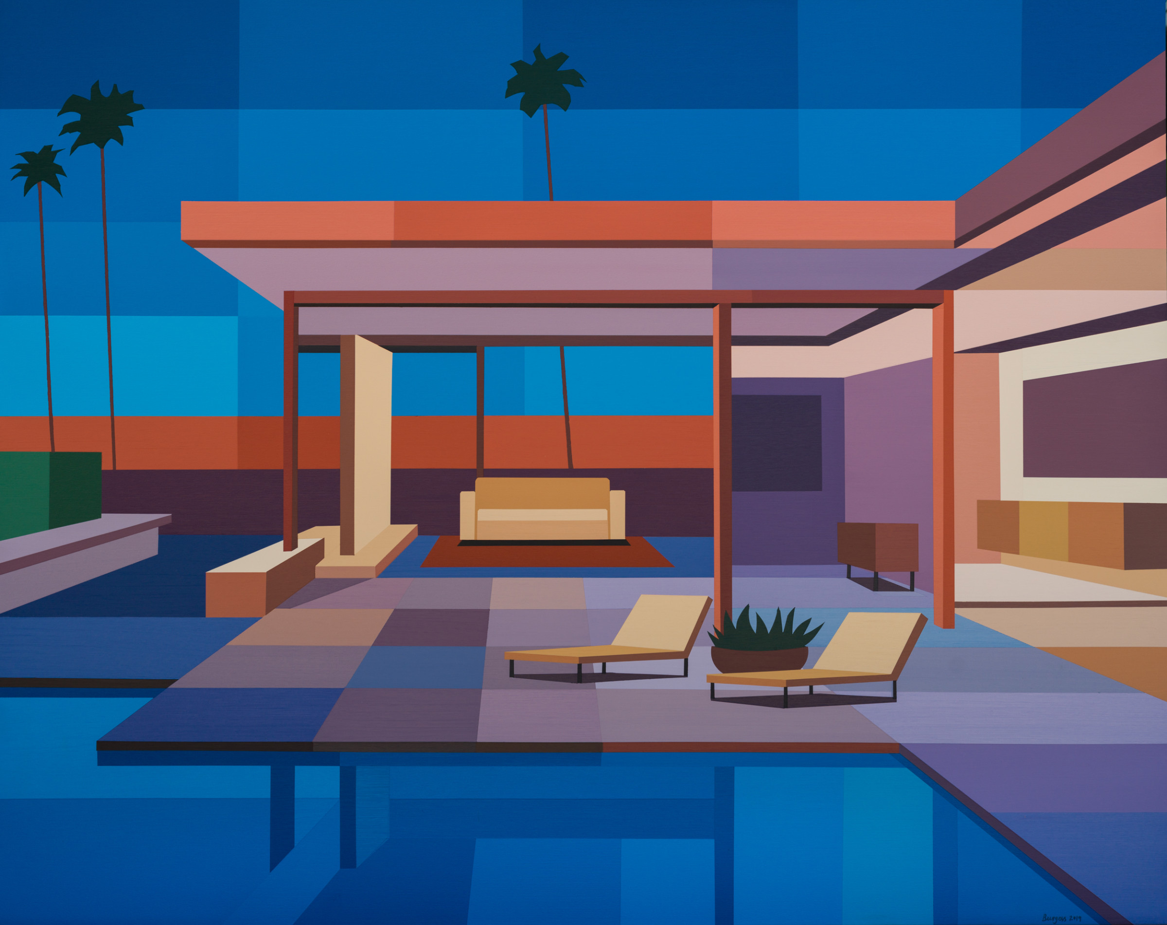 """<span class=""""link fancybox-details-link""""><a href=""""/exhibitions/43/works/artworks2783/"""">View Detail Page</a></span><div class=""""artist""""><strong>Andy Burgess</strong></div><div class=""""title""""><em>Modern House II</em>, 2019</div><div class=""""signed_and_dated"""">Signed, dated recto</div><div class=""""medium"""">Acrylic on Canvas</div><div class=""""dimensions"""">137.2 x 172.7 cm<br>54 x 68 in.</div>"""
