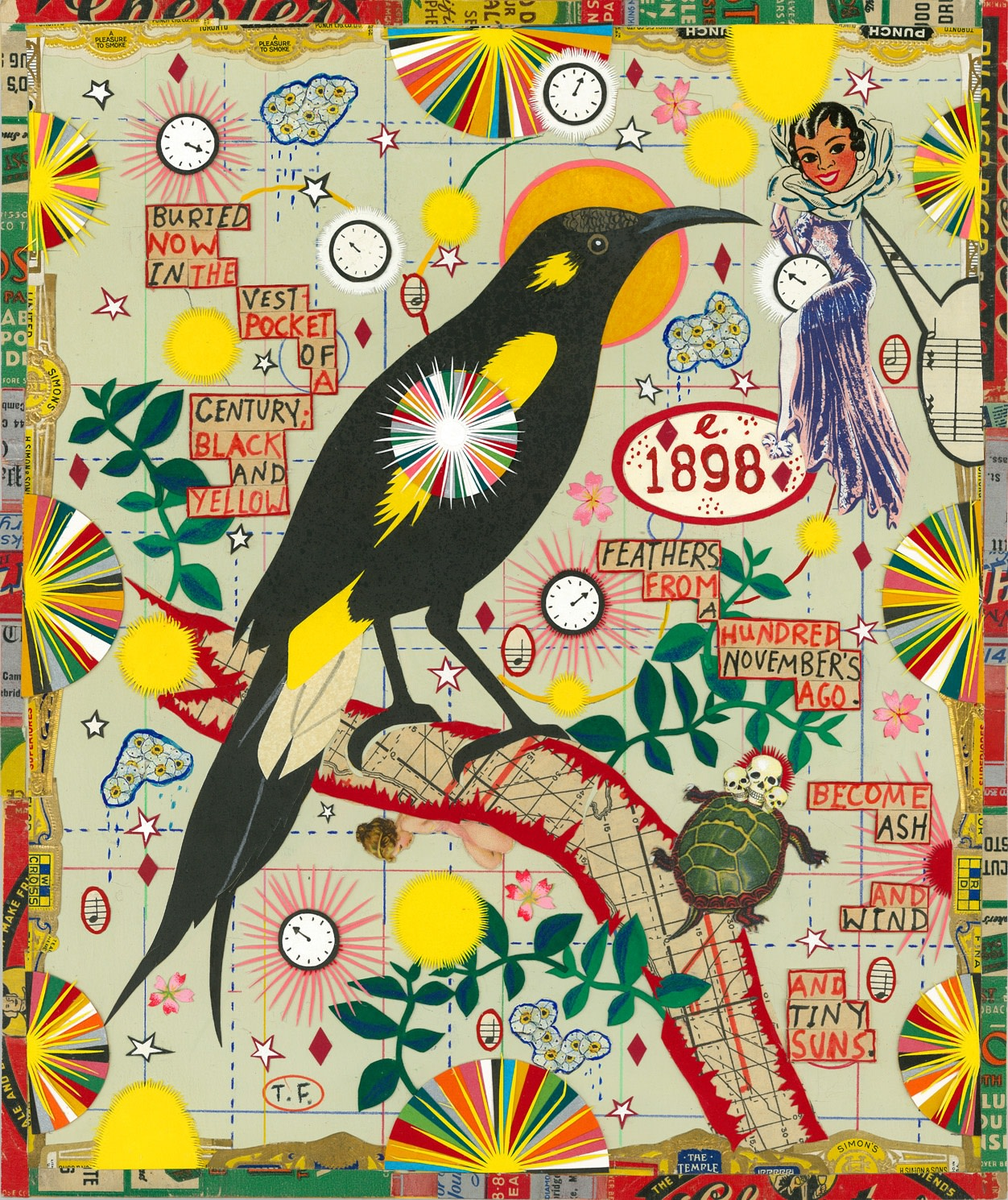 """<span class=""""link fancybox-details-link""""><a href=""""/exhibitions/25/works/artworks755/"""">View Detail Page</a></span><div class=""""artist""""><strong>Tony Fitzpatrick</strong></div><div class=""""title""""><em>Bird of the Century</em>, 2016</div><div class=""""medium"""">Unique Collage</div><div class=""""dimensions"""">(image) 30.2 x 25.4 cm<br>11 7/8 x 10 in.</div>"""