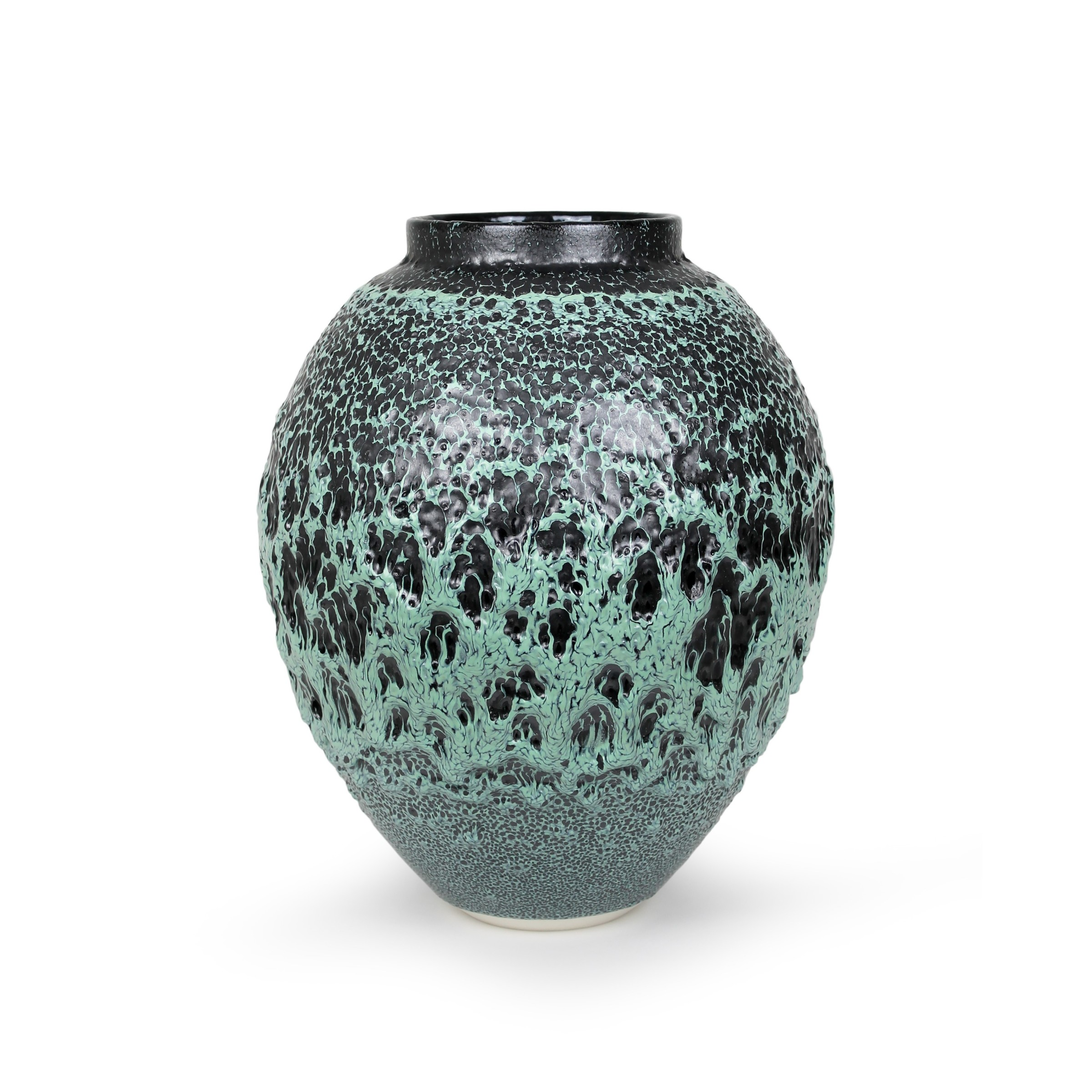 "<span class=""link fancybox-details-link""><a href=""/exhibitions/45/works/artworks3347/"">View Detail Page</a></span><div class=""artist""><strong>Albert Montserrat</strong></div><div class=""title""><em>Green Urani Vessel</em>, 2020</div><div class=""medium"">Oil - Spot Glazed Thrown Porcelain</div><div class=""dimensions"">43 x 35 x 35 cm<br>16 7/8 x 13 3/4 x 13 3/4 in.</div>"