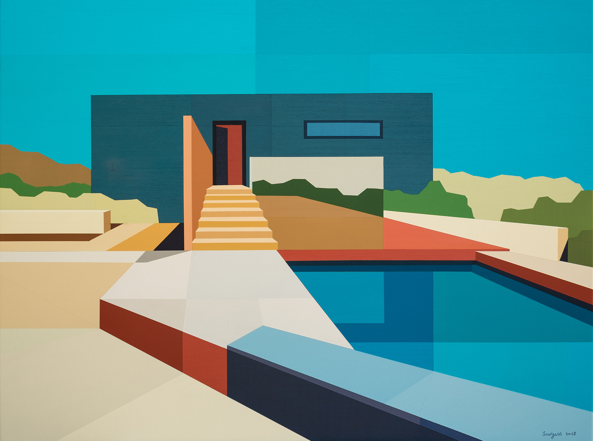 "<span class=""link fancybox-details-link""><a href=""/exhibitions/46/works/artworks3192/"">View Detail Page</a></span><div class=""artist""><strong>Andy Burgess</strong></div><div class=""title""><em>Concrete Desert House</em>, 2018</div><div class=""signed_and_dated"">Signed, dated recto</div><div class=""medium"">Acrylic on Canvas over Panel</div><div class=""dimensions"">76.2 x 101.6 cm<br>30 x 40 in.</div>"