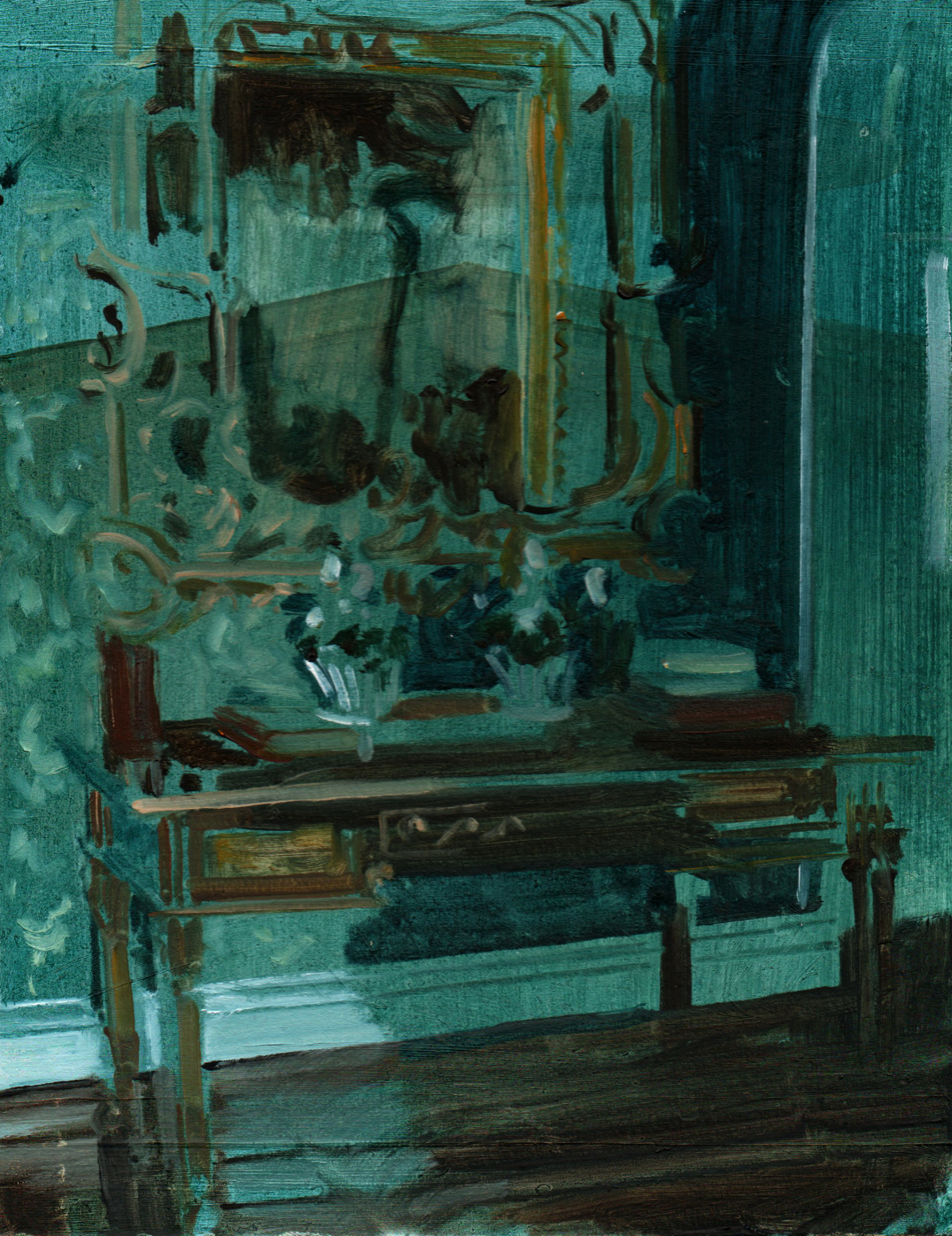 """<span class=""""link fancybox-details-link""""><a href=""""/exhibitions/40/works/artworks2338/"""">View Detail Page</a></span><div class=""""artist""""><strong>Eleanor Watson</strong></div><div class=""""title""""><em>Mirror in the Shade</em>, 2018</div><div class=""""medium"""">Oil on Board</div><div class=""""dimensions"""">22 x 17 cm<br>8 5/8 x 6 3/4 in.</div>"""