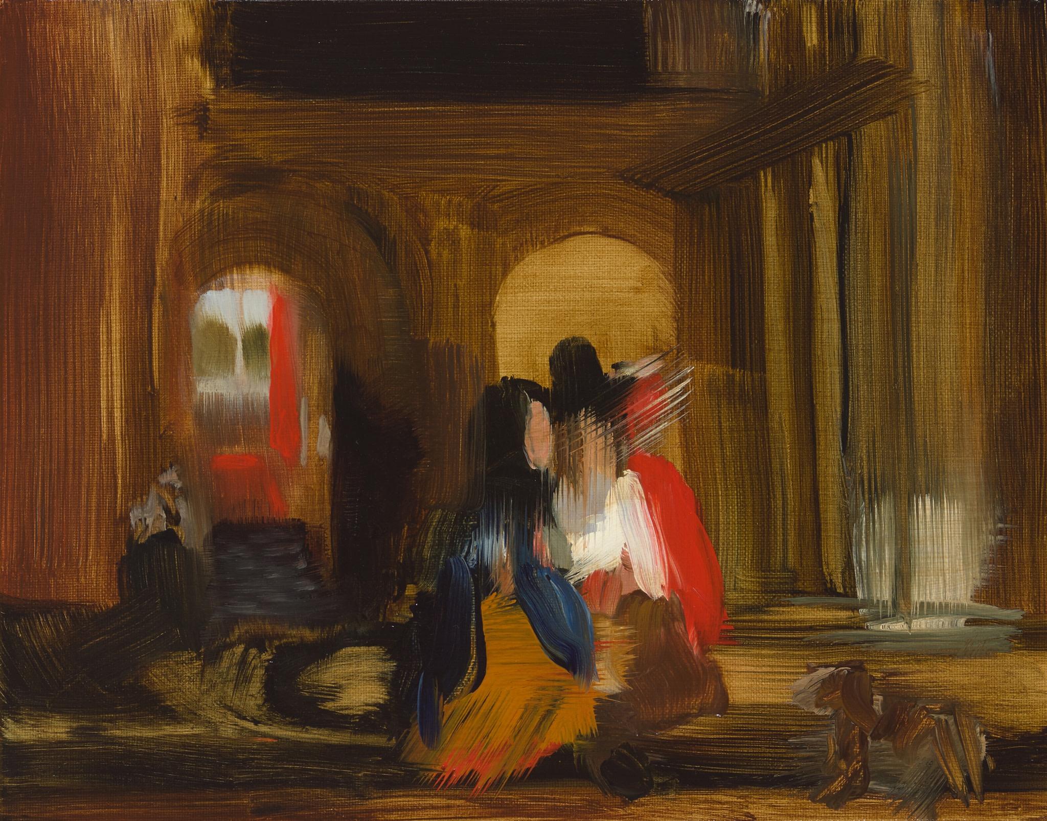 "<span class=""link fancybox-details-link""><a href=""/exhibitions/40/works/artworks113/"">View Detail Page</a></span><div class=""artist""><strong>Elise Ansel</strong></div><div class=""title""><em>Walking (after Pieter de Hooch)</em>, 2015</div><div class=""medium"">Oil on Linen</div><div class=""dimensions"">27.9 x 35.6 cm<br>11 x 14 in.</div>"