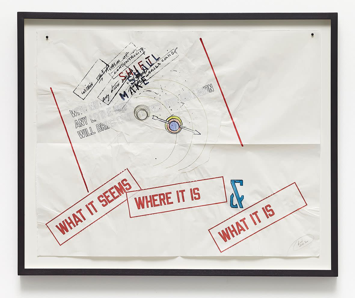 "<span class=""link fancybox-details-link""><a href=""/exhibitions/133/works/artworks9428/"">View Detail Page</a></span><div class=""artist""><strong>LAWRENCE WEINER</strong></div><div class=""title""><em>Shift to Make</em>, 2012</div><div class=""medium"">mixed media over fugitive materials on pasted folded archival paper.</div><div class=""dimensions"">40.0 x 50.0 cm<br>15 11/16 x 19 5/8 in</div>"