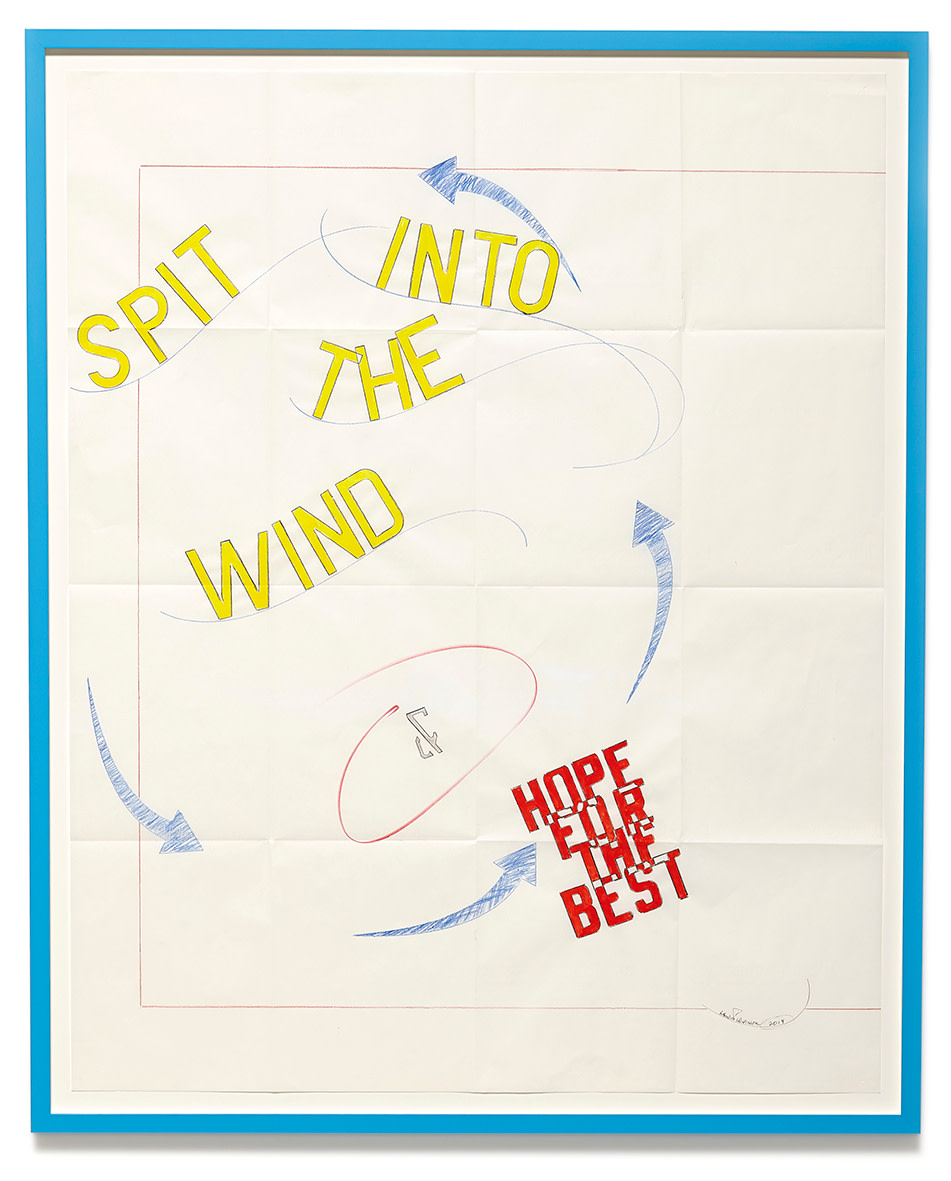 "<span class=""link fancybox-details-link""><a href=""/artists/44-lawrence-weiner/works/10547/"">View Detail Page</a></span><div class=""artist""><strong>LAWRENCE WEINER</strong></div> <div class=""title""><em>Spit in the Wind & Hope for the Best</em>, 2014</div> <div class=""medium"">gouache, faber-castell pencil, ink on folded archival paper</div> <div class=""dimensions"">paper: 81 x 51cm<br /> framed: 100 x 89.2 x 4cm</div>"