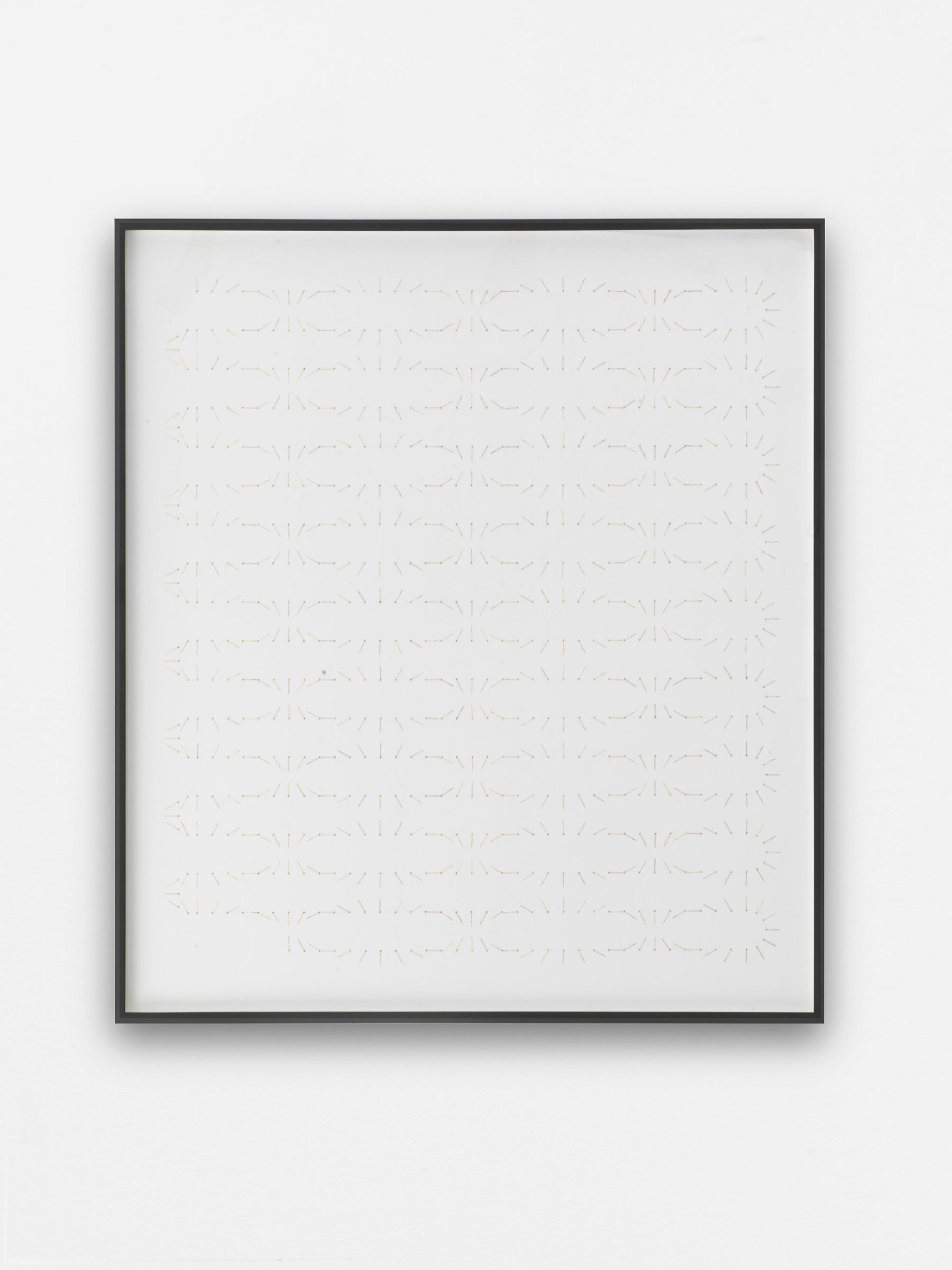 "<span class=""link fancybox-details-link""><a href=""/exhibitions/157/works/artworks14303/"">View Detail Page</a></span><div class=""artist""><strong>ALICJA KWADE</strong></div><div class=""title""><em>Ein Monat (Dezember 2017)</em>, 2017</div><div class=""medium"">clock arms, pins, cardboard</div><div class=""dimensions"">81 x 72,6 cm</div>"