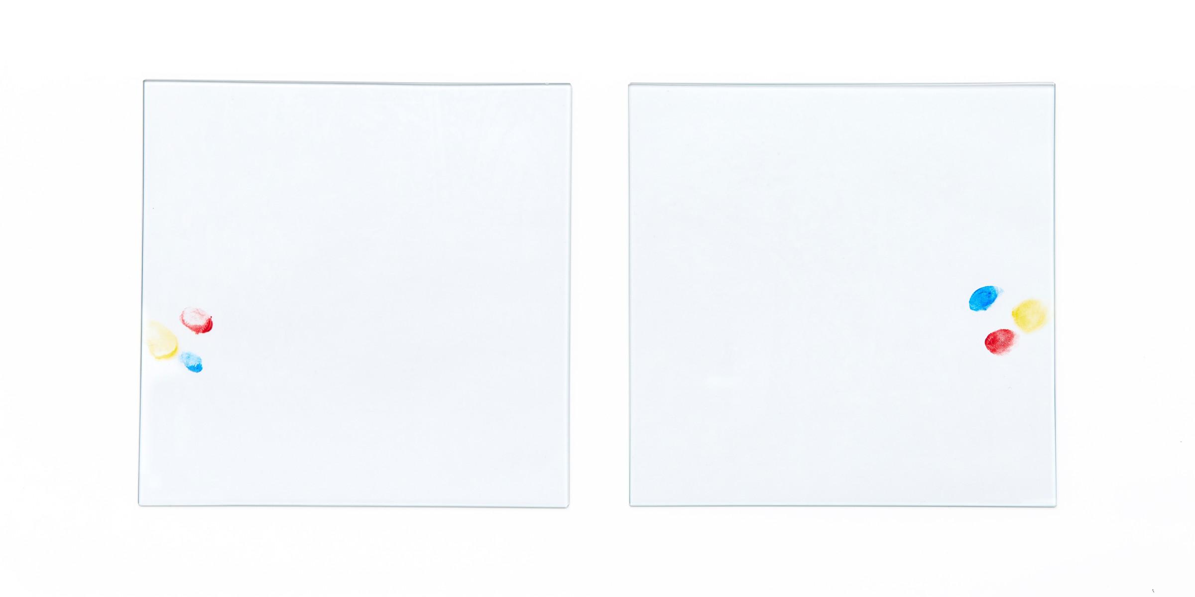 """<span class=""""link fancybox-details-link""""><a href=""""/artists/133-hreinn-frifinnsson/works/9165/"""">View Detail Page</a></span><div class=""""artist""""><strong>HREINN FRIÐFINNSSON</strong></div> <div class=""""title""""><em>Placement</em>, 1999-2012</div> <div class=""""medium"""">2 glass sheets, oilpaint</div> <div class=""""dimensions"""">Each: 22.5 x 22.5 cm</div>"""