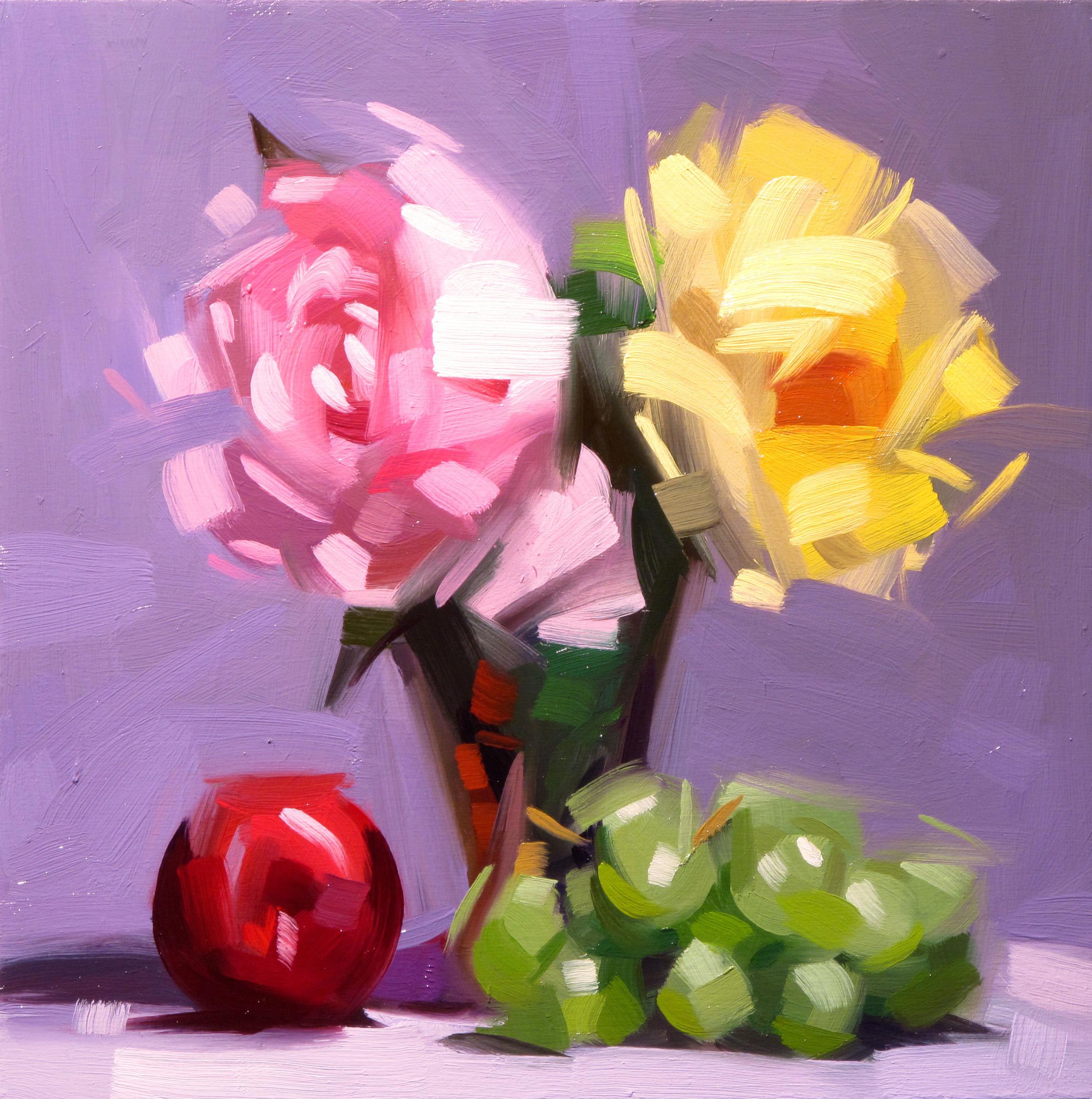 Dik Liu Yellow And Pink Flowers 2018 Markel Fine Arts