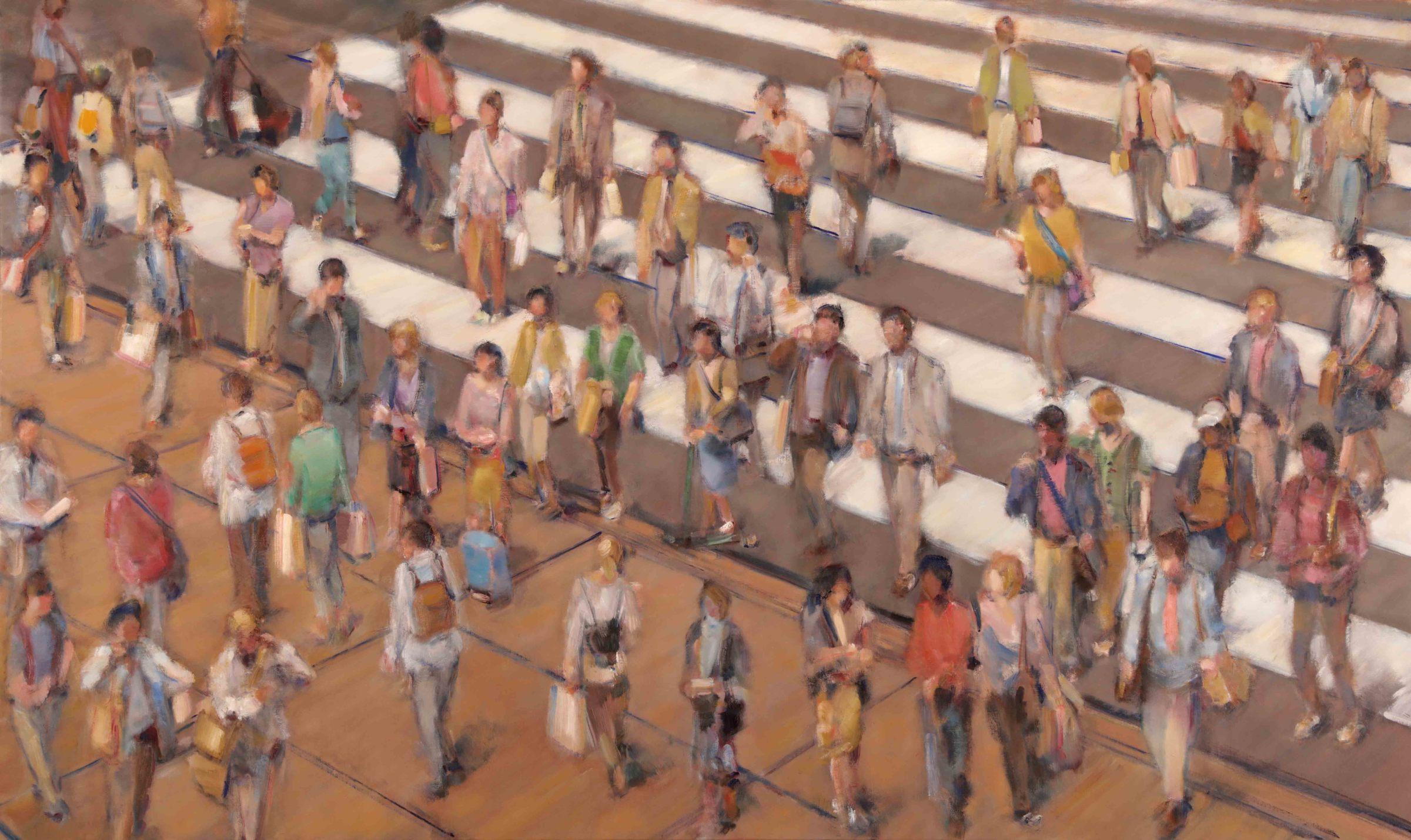 """<span class=""""link fancybox-details-link""""><a href=""""/artists/59-simon-nicholas/works/505-simon-nicholas-crosswalk-ii/"""">View Detail Page</a></span><div class=""""artist""""><strong>Simon Nicholas</strong></div> <div class=""""title""""><em>Crosswalk II</em></div> <div class=""""medium"""">47 x 79 inches</div> <div class=""""dimensions"""">Oil on Linen</div>"""
