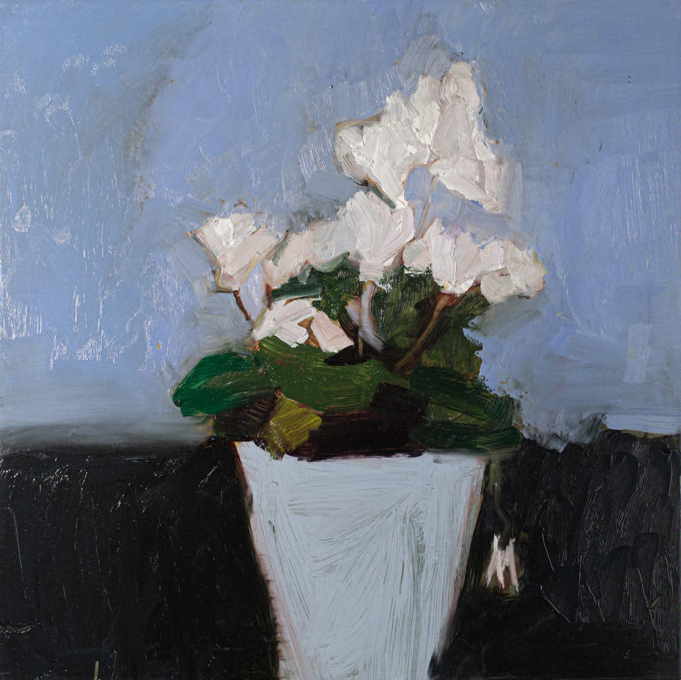 """<span class=""""link fancybox-details-link""""><a href=""""/artists/56-hadas-tal/works/604-hadas-tal-white-cyclamen/"""">View Detail Page</a></span><div class=""""artist""""><strong>Hadas Tal</strong></div> <div class=""""title""""><em>White Cyclamen</em></div> <div class=""""medium"""">Oil on Panel</div> <div class=""""dimensions"""">12 x 12 inches</div>"""