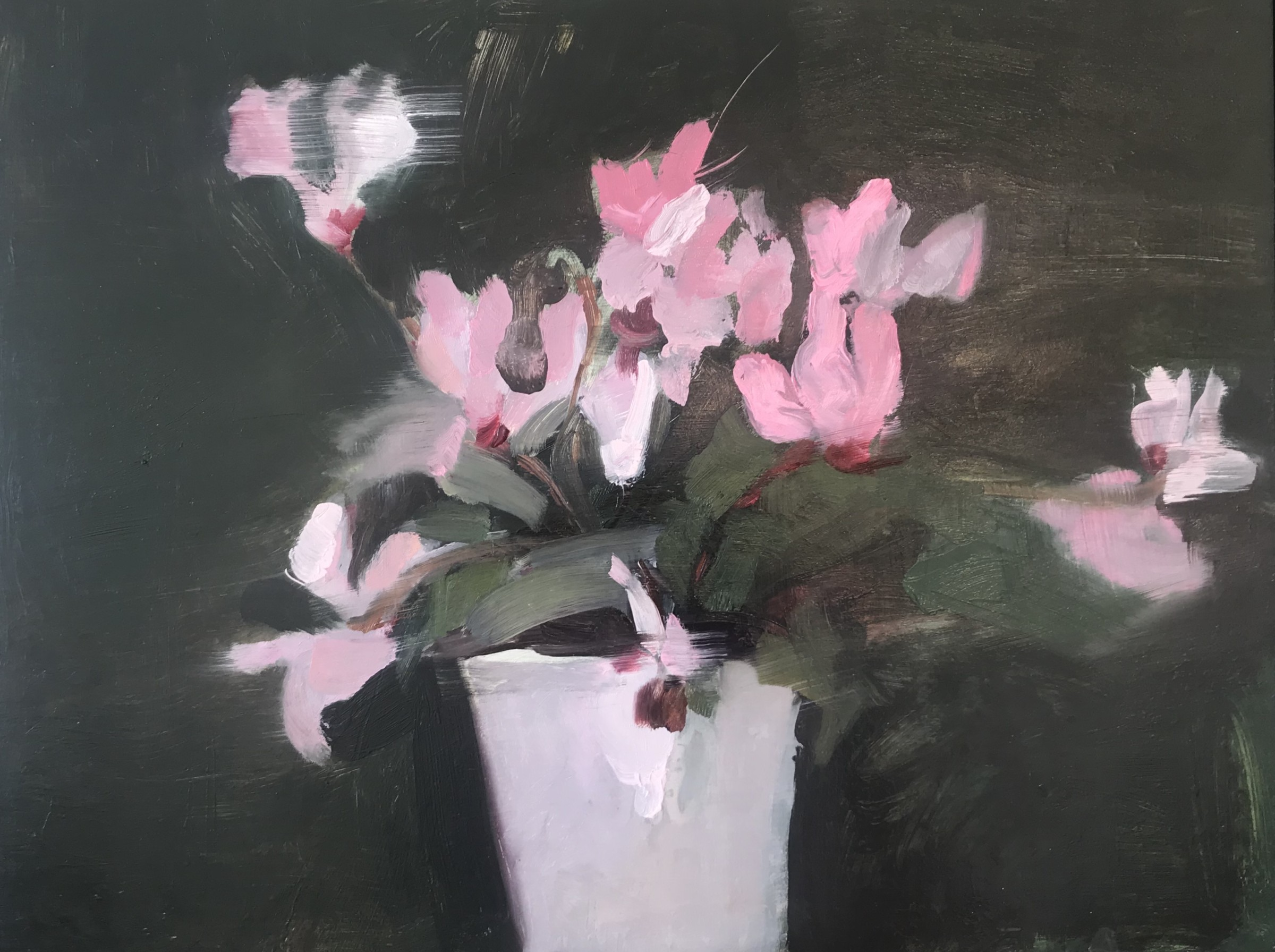 """<span class=""""link fancybox-details-link""""><a href=""""/artists/56-hadas-tal/works/769-hadas-tal-pink-cyclamen/"""">View Detail Page</a></span><div class=""""artist""""><strong>Hadas Tal</strong></div> <div class=""""title""""><em>Pink Cyclamen</em></div> <div class=""""medium"""">Oil on Wood Panel</div> <div class=""""dimensions"""">13 x 17 inches (with frame)</div>"""