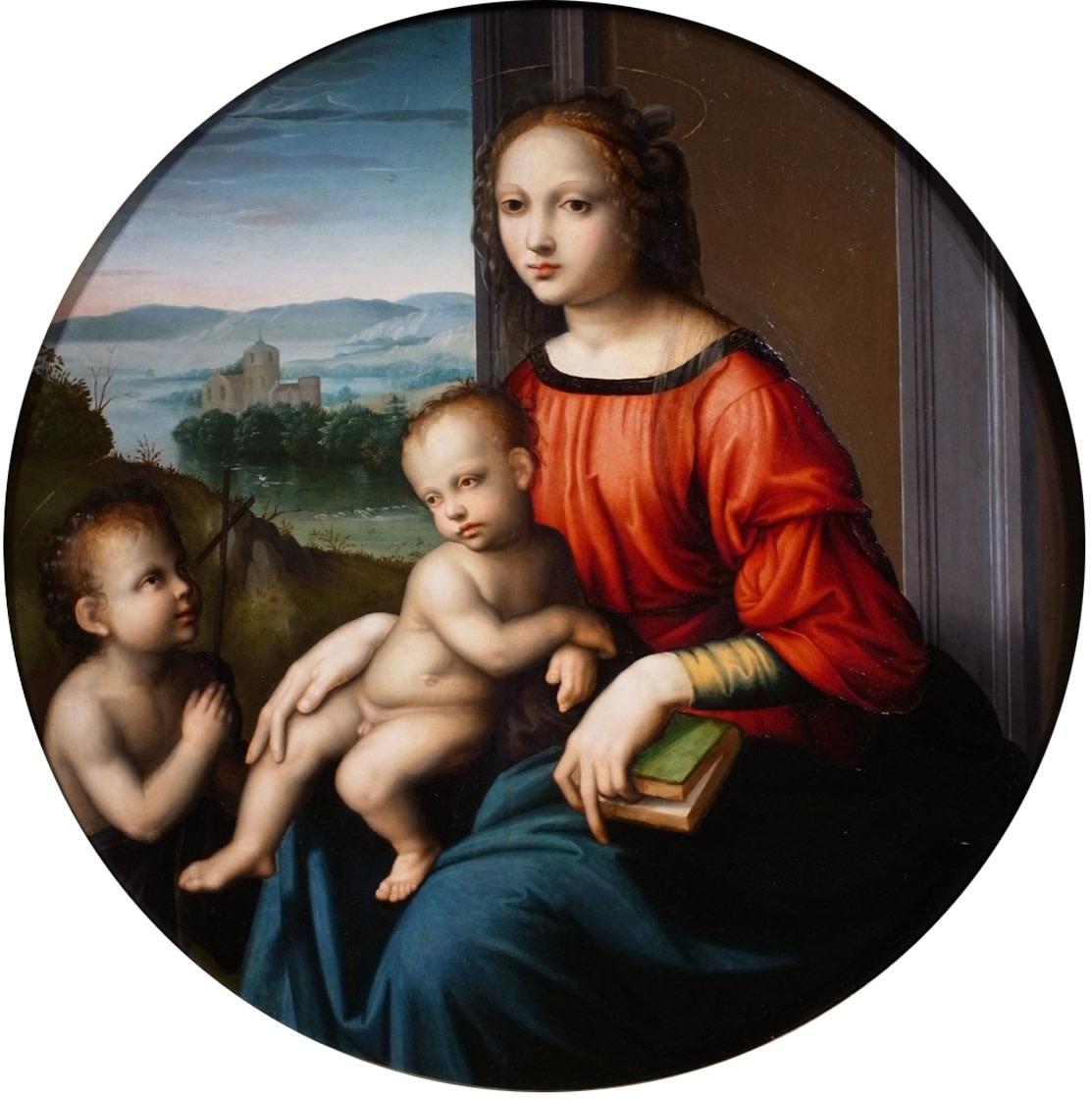 <span class=&#34;link fancybox-details-link&#34;><a href=&#34;/artworks/131/&#34;>View Detail Page</a></span><div class=&#34;artist&#34;><strong>Master of the Scandicci Lamentation</strong></div> <div class=&#34;title&#34;><em>Madonna and Child with the Infant Saint john the Baptist</em></div> <div class=&#34;medium&#34;>Oil on panel</div> <div class=&#34;dimensions&#34;>diameter: 83.9 cm</div>