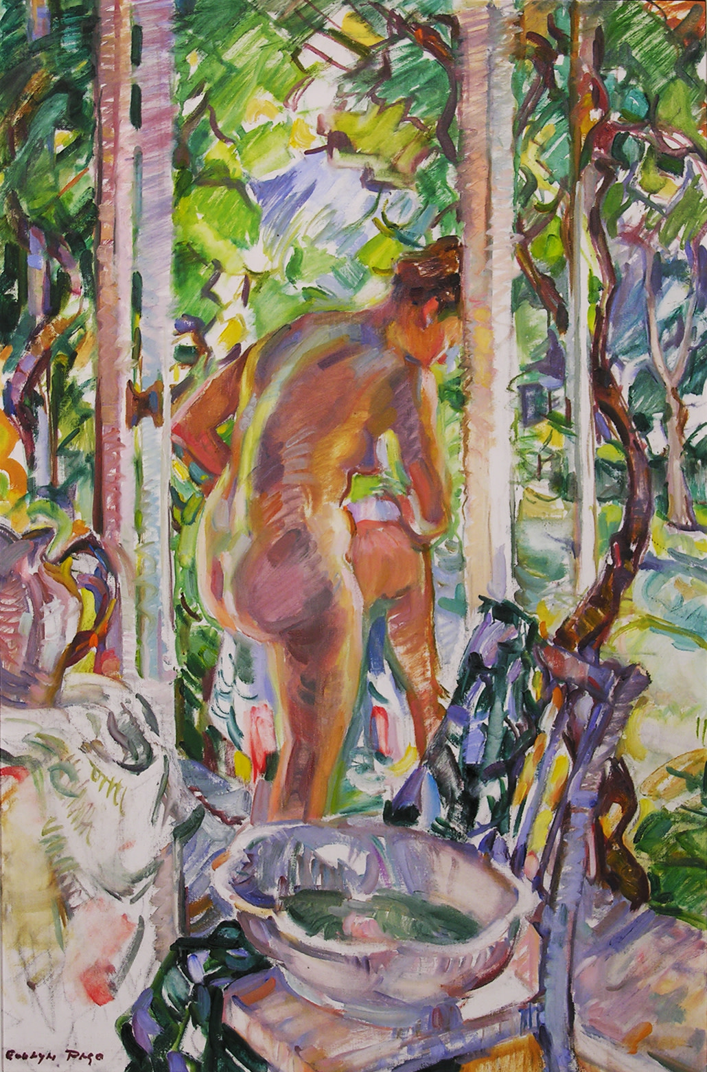 <span class=&#34;link fancybox-details-link&#34;><a href=&#34;/artists/80-evelyn-page/works/3035-evelyn-page-nude-in-a-doorway-1974/&#34;>View Detail Page</a></span><div class=&#34;artist&#34;><strong>Evelyn Page</strong></div> <div class=&#34;title&#34;><em>Nude in a Doorway</em>, 1974</div> <div class=&#34;signed_and_dated&#34;>Signed lower left 'Evelyn Page'</div> <div class=&#34;medium&#34;>Oil on canvas board</div> <div class=&#34;dimensions&#34;>23.6 x 16.1 in<br />60 x 41 cm</div>