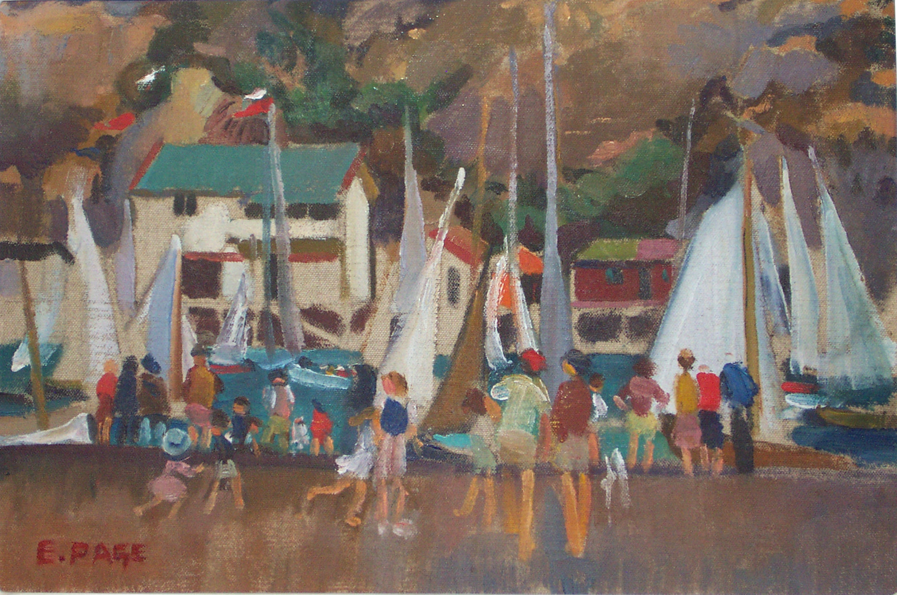 <span class=&#34;link fancybox-details-link&#34;><a href=&#34;/artists/80-evelyn-page/works/1376-evelyn-page-yachting-paremata-c.-1947/&#34;>View Detail Page</a></span><div class=&#34;artist&#34;><strong>Evelyn Page</strong></div> <div class=&#34;title&#34;><em>Yachting, Paremata</em>, c. 1947</div> <div class=&#34;signed_and_dated&#34;>Signed lower left</div> <div class=&#34;medium&#34;>Oil on canvas laid onto board</div> <div class=&#34;dimensions&#34;>9.8 x 14.4 in<br />25 x 36.5 cm</div>