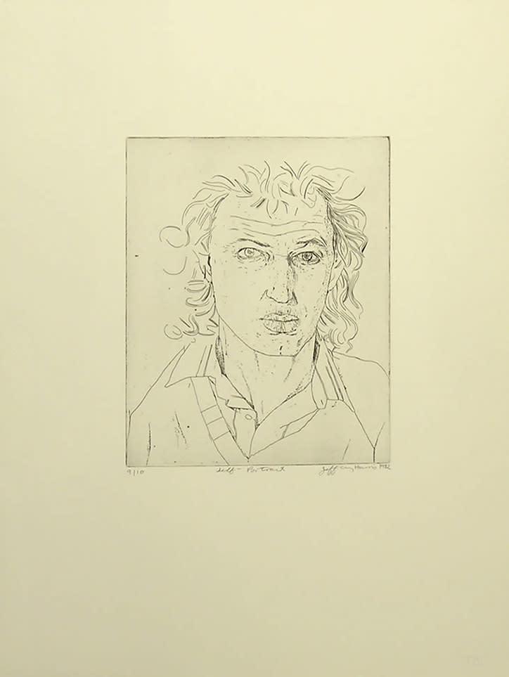 <span class=&#34;link fancybox-details-link&#34;><a href=&#34;/artists/76-jeffrey-harris/works/6584-jeffrey-harris-self-portrait-1982/&#34;>View Detail Page</a></span><div class=&#34;artist&#34;><strong>Jeffrey Harris</strong></div> <div class=&#34;title&#34;><em>Self Portrait</em>, 1982</div> <div class=&#34;medium&#34;>Etching and drypoint</div> <div class=&#34;dimensions&#34;>9.4 x 7.9 in<br />24 x 20 cm</div> <div class=&#34;edition_details&#34;>#9/10</div>