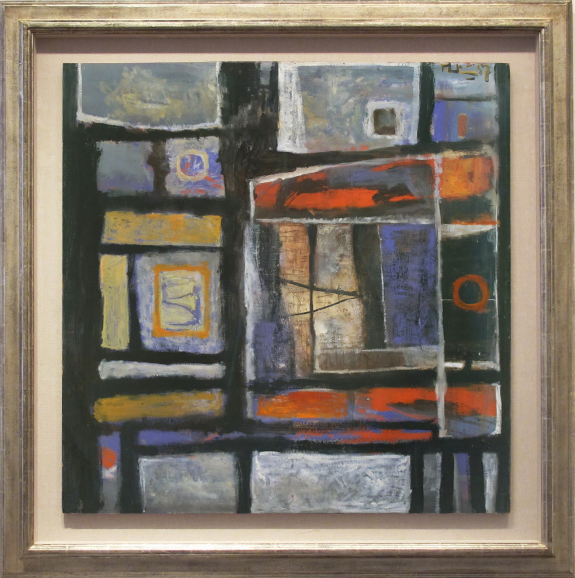<span class=&#34;link fancybox-details-link&#34;><a href=&#34;/artists/26-martin-bradley/works/25/&#34;>View Detail Page</a></span><div class=&#34;artist&#34;><strong>Martin Bradley</strong></div> Born 1931 <div class=&#34;title&#34;><em>Abstract 1957</em></div> <div class=&#34;signed_and_dated&#34;>signed and dated 1957</div> <div class=&#34;medium&#34;>oil on board</div> <div class=&#34;dimensions&#34;>81.5 x 81.5 cms (32 x 32 ins)<br /> framed: 105.5 x 105.5 cms (41.5 x 41.5 ins)</div>