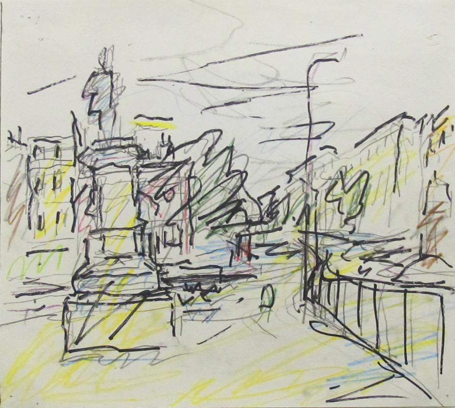 <span class=&#34;link fancybox-details-link&#34;><a href=&#34;/artists/137-frank-auerbach/works/854/&#34;>View Detail Page</a></span><div class=&#34;artist&#34;><strong>Frank Auerbach</strong></div> Born 1931 <div class=&#34;title&#34;><em>Study for Mornington Crescent - Summer Morning</em></div> <div class=&#34;signed_and_dated&#34;>initialled verso<br /> circa 2004</div> <div class=&#34;medium&#34;>ink and crayon on paper</div> <div class=&#34;dimensions&#34;>21 x 23.5 cms (8 x 9 ins)<br /> framed: 35.5 x 37 cms (14 x 14½ ins)</div>