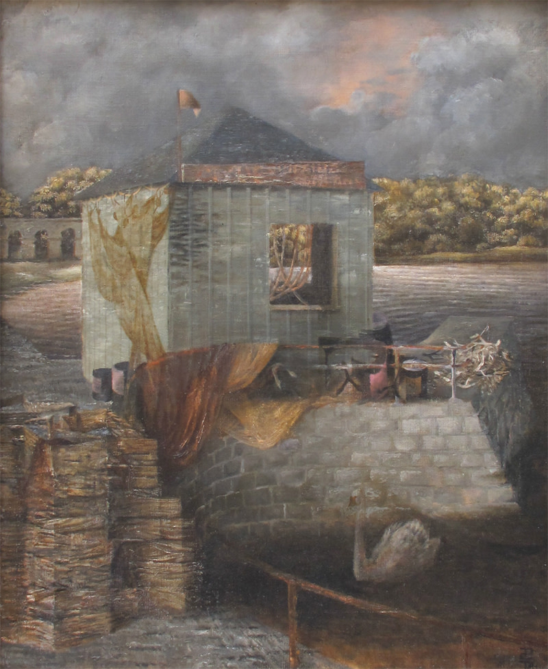 """<span class=""""link fancybox-details-link""""><a href=""""/artists/34-prunella-clough/works/35/"""">View Detail Page</a></span><div class=""""artist""""><strong>Prunella Clough</strong></div> 1919-1999 <div class=""""title""""><em>Inveraray Quay</em></div> <div class=""""signed_and_dated"""">signed with monogram<br />titled and dated 1941 verso</div> <div class=""""medium"""">oil on canvas</div> <div class=""""dimensions"""">56 x 46 cms (22 x 18 ins)<br /> framed: 69 x 58.5 cms (27 x 23 ins)</div>"""