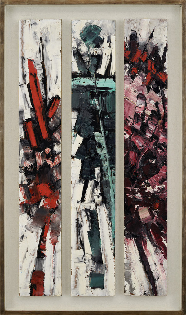 <span class=&#34;link fancybox-details-link&#34;><a href=&#34;/artists/66-frank-avray-wilson/works/674/&#34;>View Detail Page</a></span><div class=&#34;artist&#34;><strong>Frank Avray Wilson</strong></div> 1914-2009 <div class=&#34;title&#34;><em>Three Panels</em></div> <div class=&#34;signed_and_dated&#34;>signed and dated '61 verso</div> <div class=&#34;medium&#34;>oil on board</div> <div class=&#34;dimensions&#34;>121 x 65.5cms (48 x 26 ins)</div>