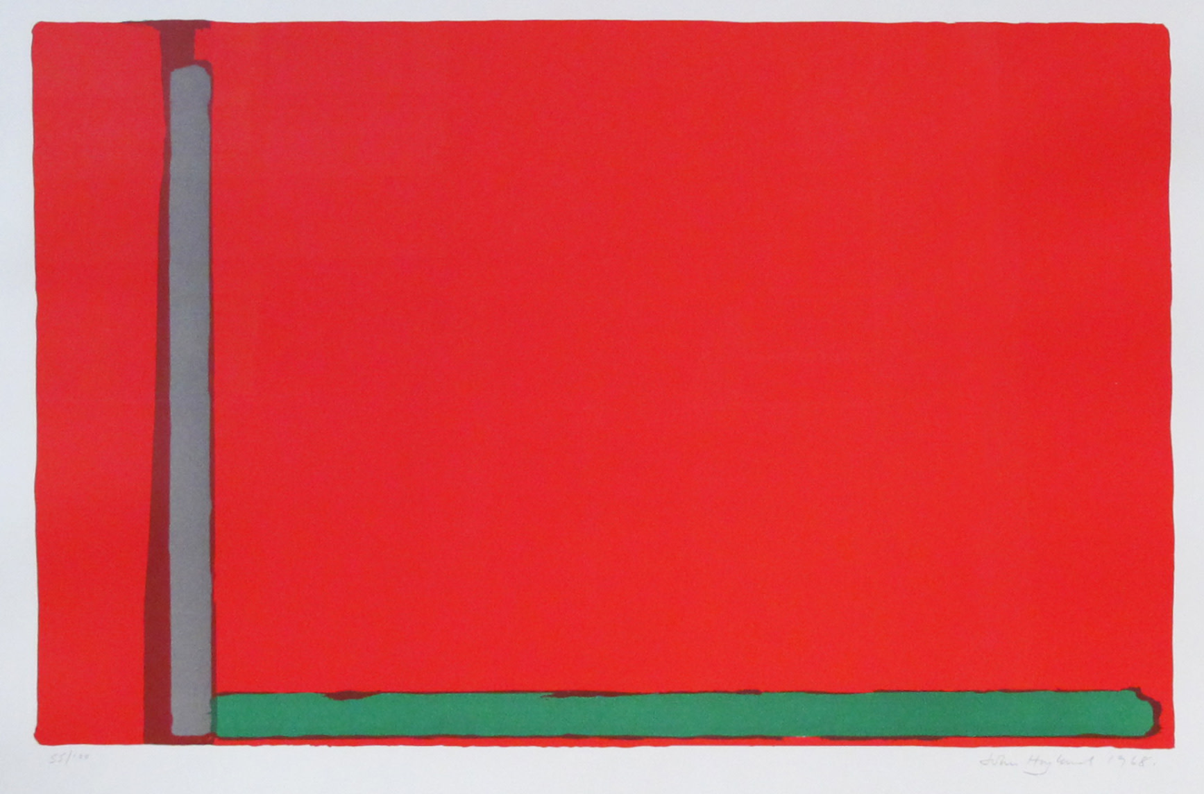 <span class=&#34;link fancybox-details-link&#34;><a href=&#34;/artists/131-john-hoyland/works/782/&#34;>View Detail Page</a></span><div class=&#34;artist&#34;><strong>John Hoyland</strong></div> 1934-2011 <div class=&#34;title&#34;><em>Swiss Red</em></div> <div class=&#34;signed_and_dated&#34;>signed and dated 1968<br /> numbered 55 from an edition of 100</div> <div class=&#34;medium&#34;>lithograph</div> <div class=&#34;dimensions&#34;>63.5 x 90.5 cms (25 x 35.75 ins)</div>