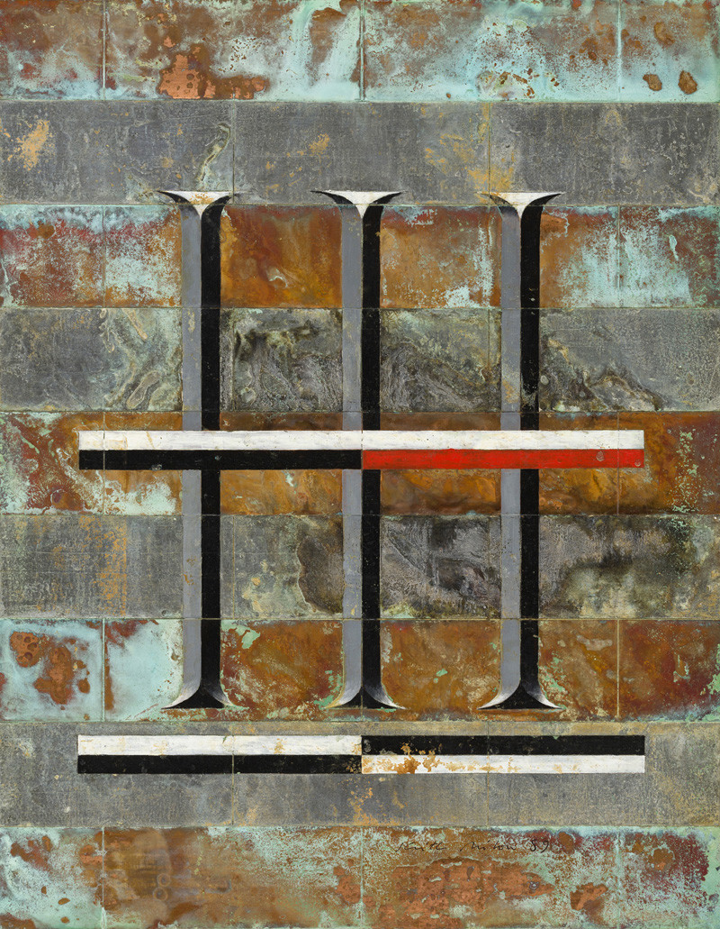 "<span class=""link fancybox-details-link""><a href=""/artists/59-keith-milow/works/1001/"">View Detail Page</a></span><div class=""artist""><strong>Keith Milow</strong></div> Born 1945 <div class=""title""><em>Drawing 89/7//77/D</em></div> <div class=""signed_and_dated"">signed and dated 1989</div> <div class=""medium"">oil on lead and copper</div> <div class=""dimensions"">46 x 36 cms (18 x 14 ins)<br /> framed: 70 x 52 cms (27½ x 20½ ins)</div>"