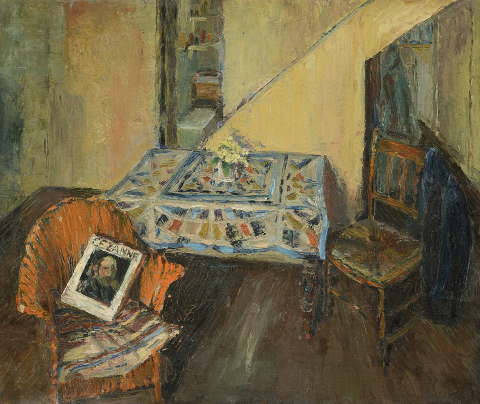 """<span class=""""link fancybox-details-link""""><a href=""""/artists/46-terry-frost/works/505/"""">View Detail Page</a></span><div class=""""artist""""><strong>Terry Frost</strong></div> 1915-2003 <div class=""""title""""><em>Interior at Quay Street St.Ives</em></div> <div class=""""signed_and_dated"""">signed verso<br /> painted circa 1948</div> <div class=""""medium"""">oil on board</div> <div class=""""dimensions"""">51 x 61 cms (20 x 24 ins)<br /> framed size: 53 x 63 cms (21 x 25 ins)</div>"""