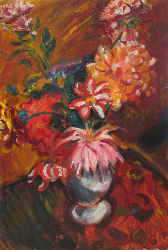"""<span class=""""link fancybox-details-link""""><a href=""""/artists/100-matthew-smith/works/269/"""">View Detail Page</a></span><div class=""""artist""""><strong>Matthew Smith</strong></div> 1879 - 1959 <div class=""""title""""><em>Dahlias</em></div> <div class=""""signed_and_dated"""">signed with artist's initials<br /> titled and dated 1928 on stretcher</div> <div class=""""medium"""">oil on canvas</div> <div class=""""dimensions"""">61 x 40.5 cms (24 x 16 ins)<br /> framed: 77.5 x 57 cms (30½ x 22½ins)</div>"""