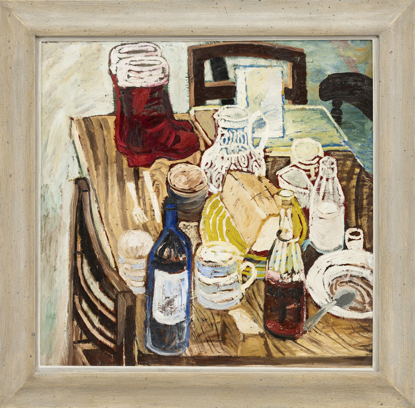 <span class=&#34;link fancybox-details-link&#34;><a href=&#34;/artists/28-john-bratby/works/127/&#34;>View Detail Page</a></span><div class=&#34;artist&#34;><strong>John Bratby</strong></div> 1928- 1992 <div class=&#34;title&#34;><em>Red Boots</em></div> <div class=&#34;medium&#34;>oil on board painted circa 1954</div> <div class=&#34;dimensions&#34;>75 x 76 cms (29.5 x 30 ins)<br /> framed: 94 x 96.5 cms (37 x 38 ins)</div>