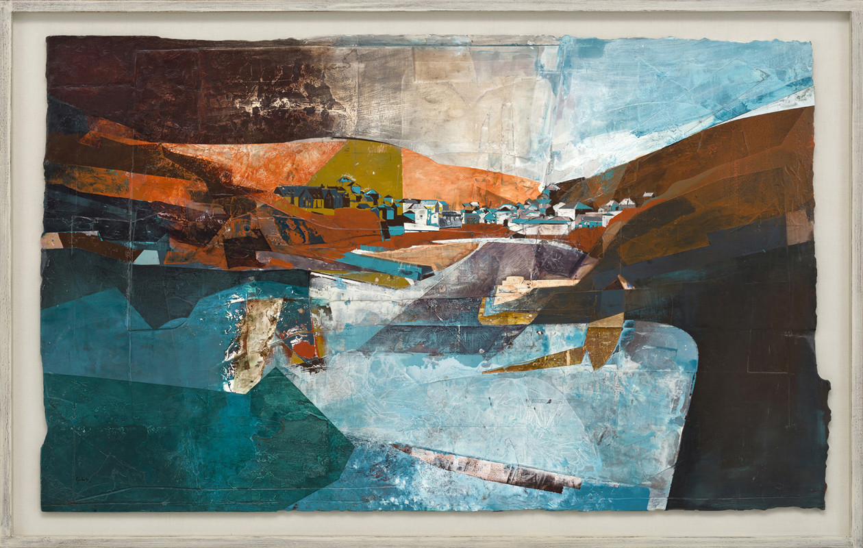 """<span class=""""link fancybox-details-link""""><a href=""""/artists/139-jeremy-gardiner/works/923/"""">View Detail Page</a></span><div class=""""artist""""><strong>Jeremy Gardiner</strong></div> Born 1957 <div class=""""title""""><em>Amber Light, Port Isaac, Cornwall</em></div> <div class=""""signed_and_dated"""">signed and dated 2018<br /> titled verso</div> <div class=""""medium"""">acrylic and jesmonite on poplar panel</div> <div class=""""dimensions"""">90 x 150 cms (35½ x 59 ins)<br /> framed: 103 x 163 cms (40½ x 64 ins)</div>"""