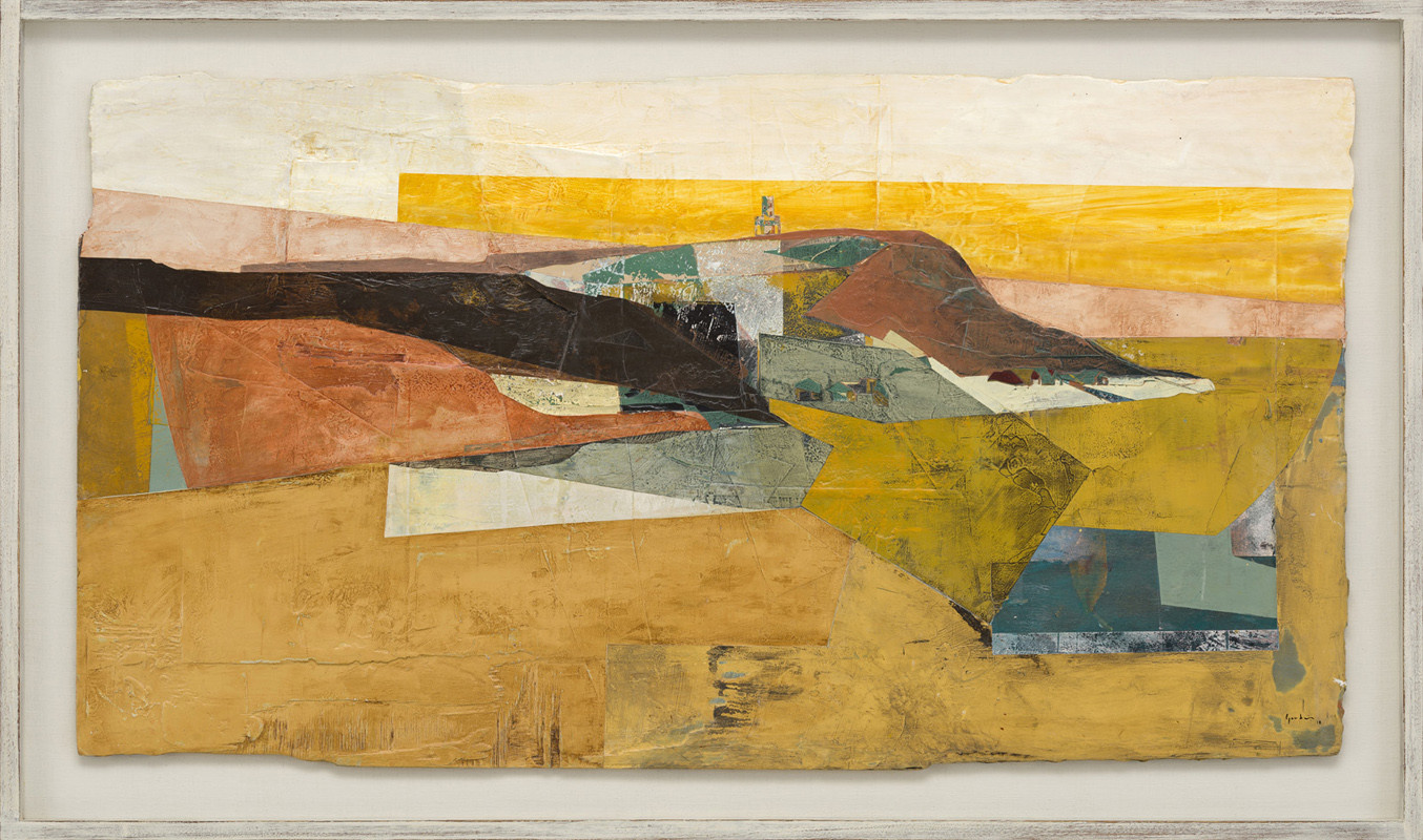 """<span class=""""link fancybox-details-link""""><a href=""""/artists/139-jeremy-gardiner/works/934/"""">View Detail Page</a></span><div class=""""artist""""><strong>Jeremy Gardiner</strong></div> Born 1957 <div class=""""title""""><em>Kimmeridge Folly, Dorset</em></div> <div class=""""signed_and_dated"""">signed and dated 2018<br /> titled verso</div> <div class=""""medium"""">acrylic and jesmonite on poplar panel</div> <div class=""""dimensions"""">60 x 110 cms (23½ x 43½ ins)<br /> framed: 72 x 123 cms (28½ x 48½ ins)</div>"""