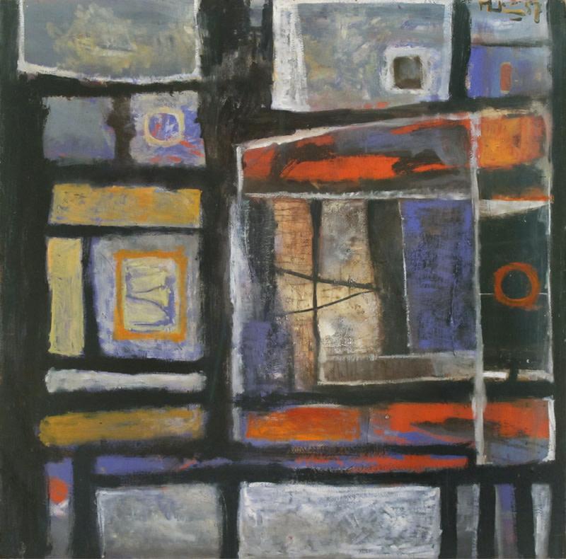 <span class=&#34;link fancybox-details-link&#34;><a href=&#34;/artists/26-martin-bradley/works/25/&#34;>View Detail Page</a></span><div class=&#34;artist&#34;><strong>Martin Bradley</strong></div> Born 1931 <div class=&#34;title&#34;><em>Abstract 1957</em></div> <div class=&#34;signed_and_dated&#34;>signed and dated 1957</div> <div class=&#34;medium&#34;>oil on board</div> <div class=&#34;dimensions&#34;>81.5 x 81.5 cms (32 x 32 ins)<br /> framed: 105.5 x 105.5 cms (41.5 x 41.5 ins)</div>