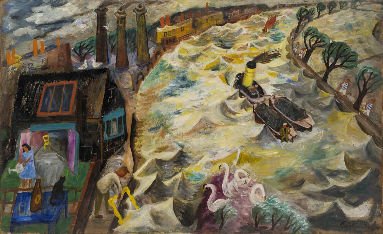 "<span class=""link fancybox-details-link""><a href=""/artists/105-julian-trevelyan/works/469/"">View Detail Page</a></span><div class=""artist""><strong>Julian Trevelyan</strong></div> 1910-1988 <div class=""title""><em>Durham Wharf</em></div> <div class=""signed_and_dated"">signed and dated 1944 </div> <div class=""medium"">oil on canvas</div> <div class=""dimensions"">76 x 122 cms (30 x 48 ins)<br /> framed: 99 x 147 cms (39 x 58 ins)</div>"
