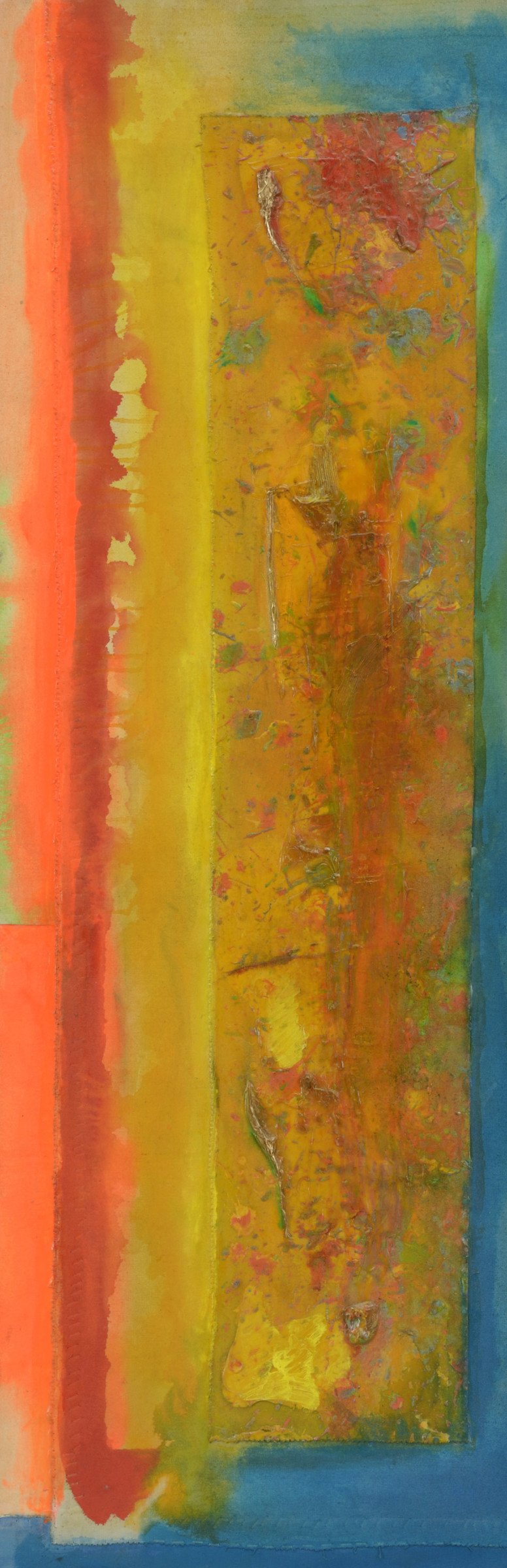 """<span class=""""link fancybox-details-link""""><a href=""""/artists/70-frank-bowling/works/192/"""">View Detail Page</a></span><div class=""""artist""""><strong>Frank Bowling</strong></div> Born 1934 <div class=""""title""""><em>P.D's Choice</em></div> <div class=""""signed_and_dated"""">signed, titled and dated 1990 verso</div> <div class=""""medium"""">acrylic and mixed media on collaged canvas</div> <div class=""""dimensions"""">147 x 45.5 cms (58 x 18 ins)<br /> framed: 155.5 x 60.5 cms (61¼ x 23¾ ins)</div>"""